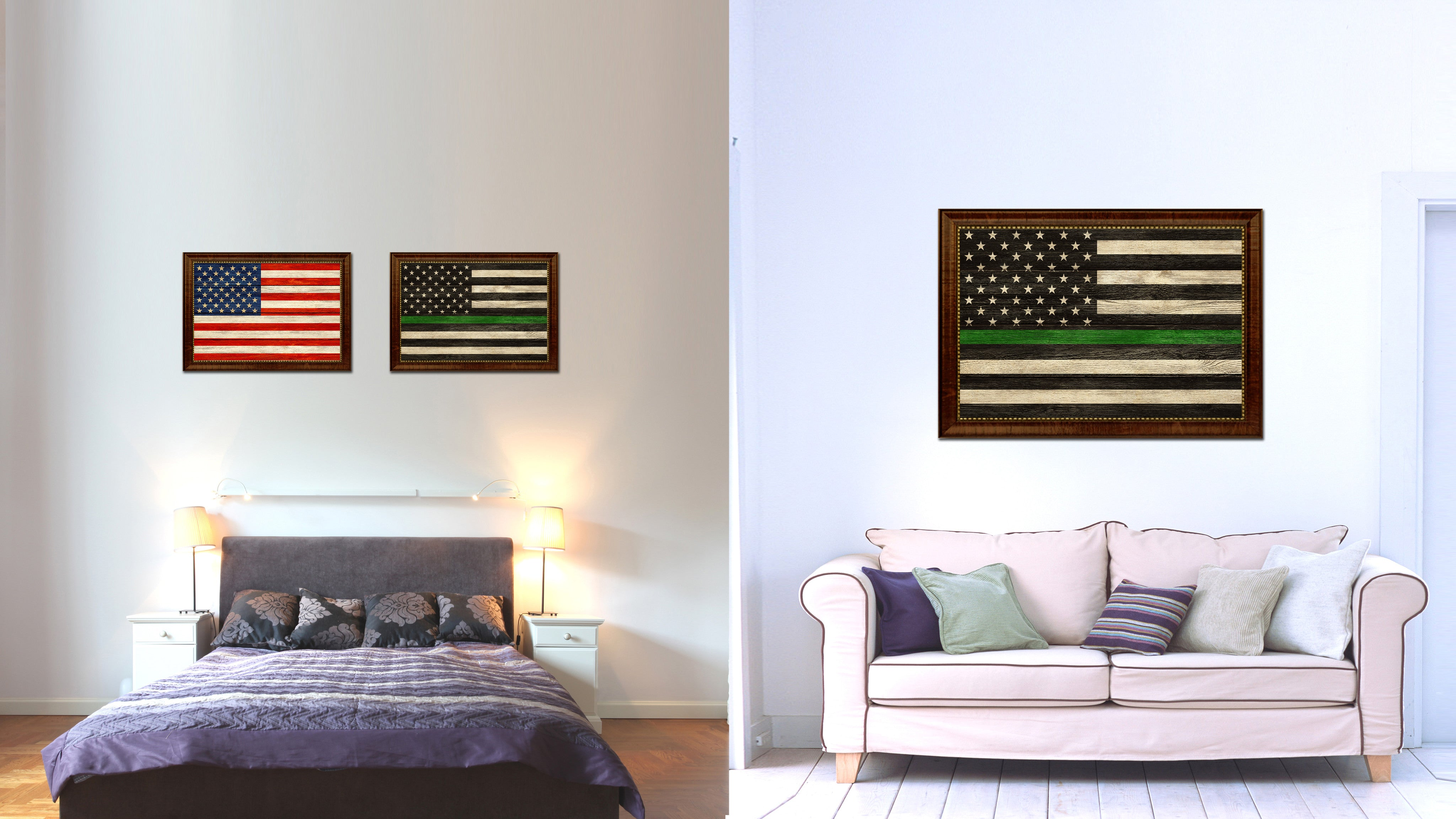 Thin Green Line Support Border Patrol American USA Flag Texture Canvas Print With Brown Picture Frame