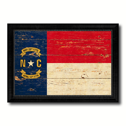 North Carolina State Vintage Flag Canvas Print with Black Picture Frame Home Decor Man Cave Wall Art Collectible Decoration Artwork Gifts
