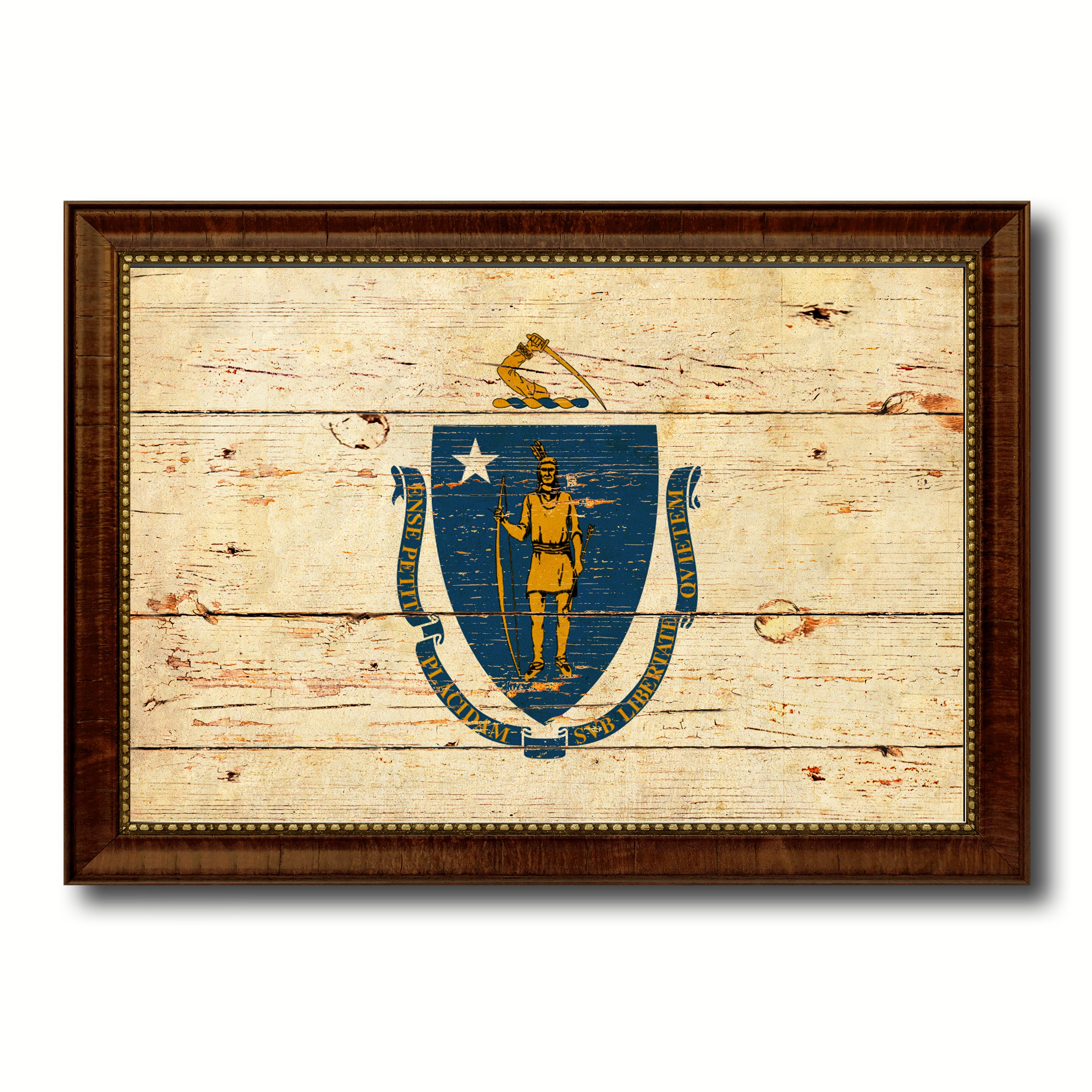 Massachusetts State Vintage Flag Canvas with Black Print Picture ...