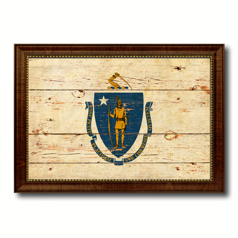 Massachusetts State Flag Canvas Print with Custom Black Picture Frame Home Decor Wall Art Decoration Gifts