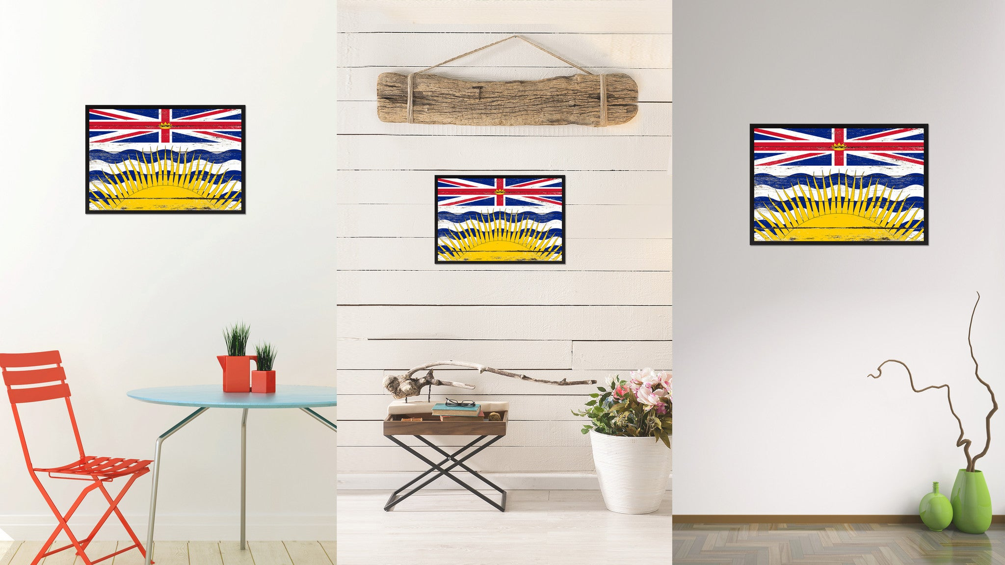 British Columbia Province City Canada Country Flag Vintage Canvas Print with Black Picture Frame Home Decor Wall Art Collectible Decoration Artwork Gifts