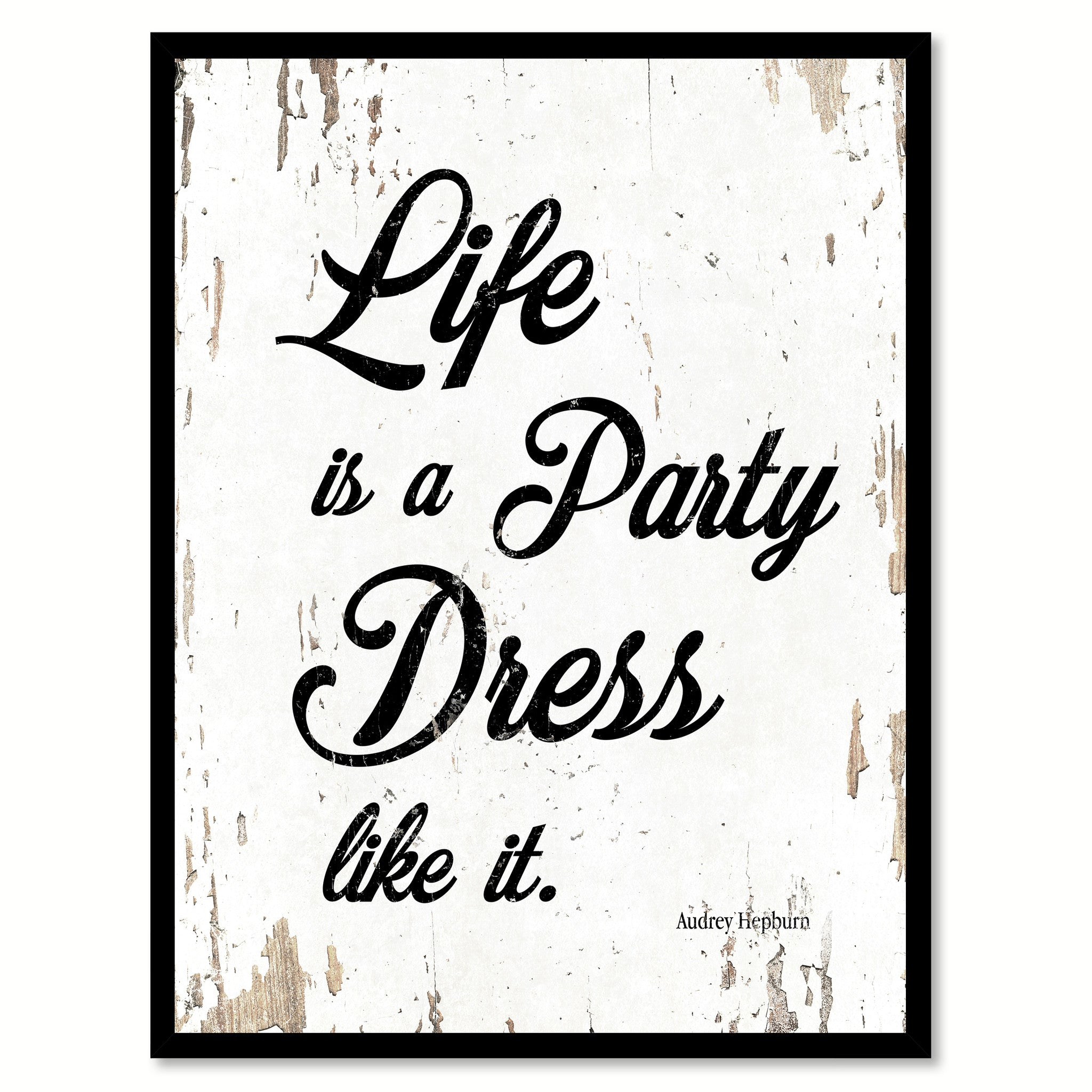 inspirational frames for office. Life Is A Party Dress Like It Audrey Hepburn Quote Saying Framed Canvas Print Gift Ideas Home Decor Wall Art 111562 White Inspirational Frames For Office