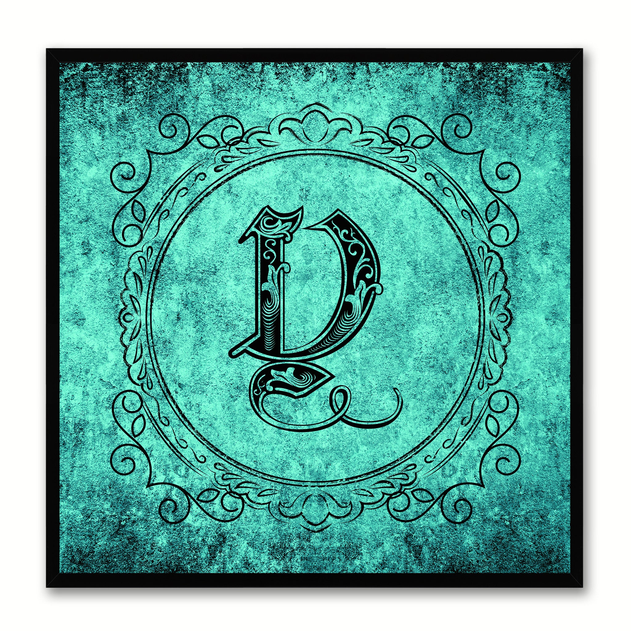 Alphabet Y Aqua Canvas Print Black Frame Kids Bedroom Wall Décor Home Art