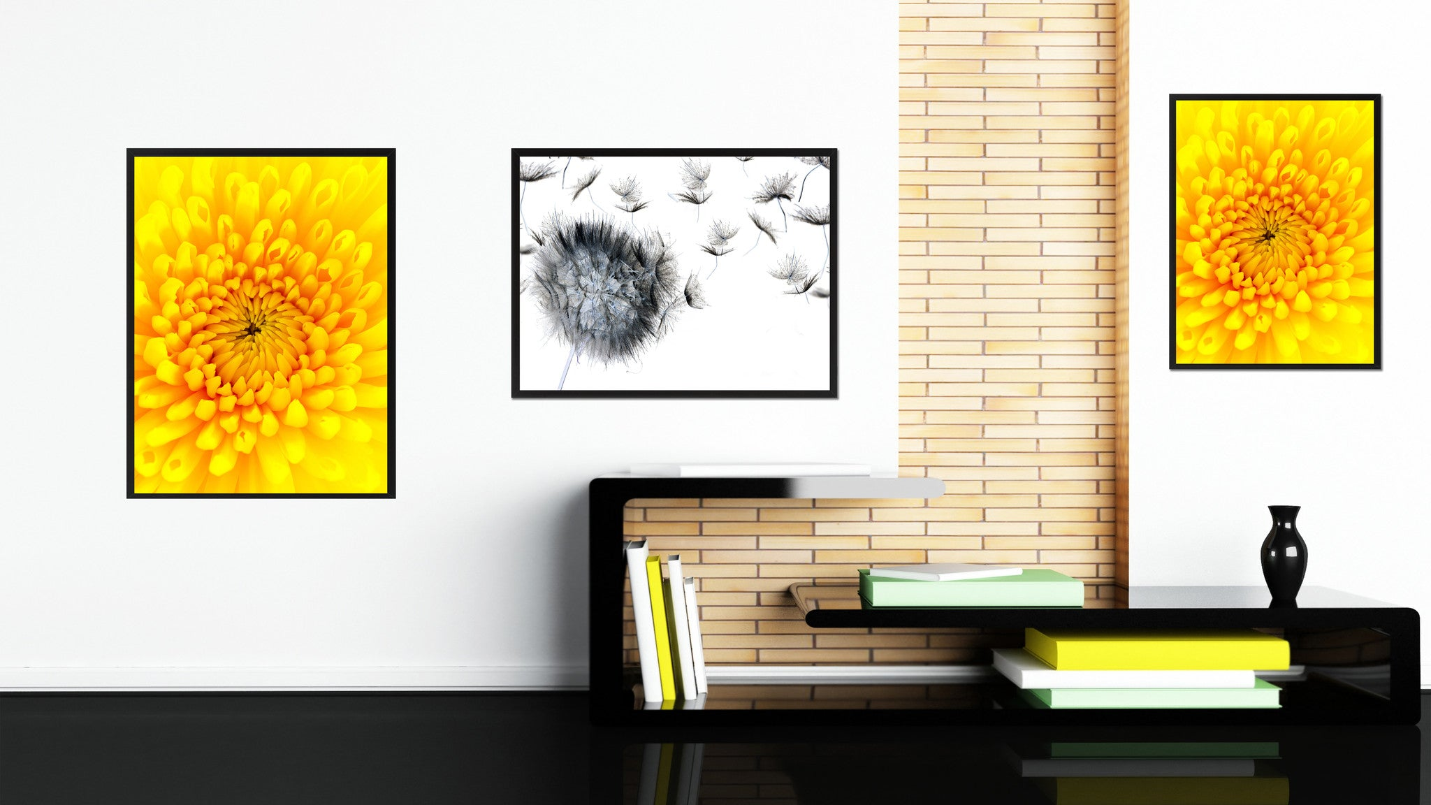 Yellow Chrysanthemum Flower Framed Canvas Print Home Décor Wall Art