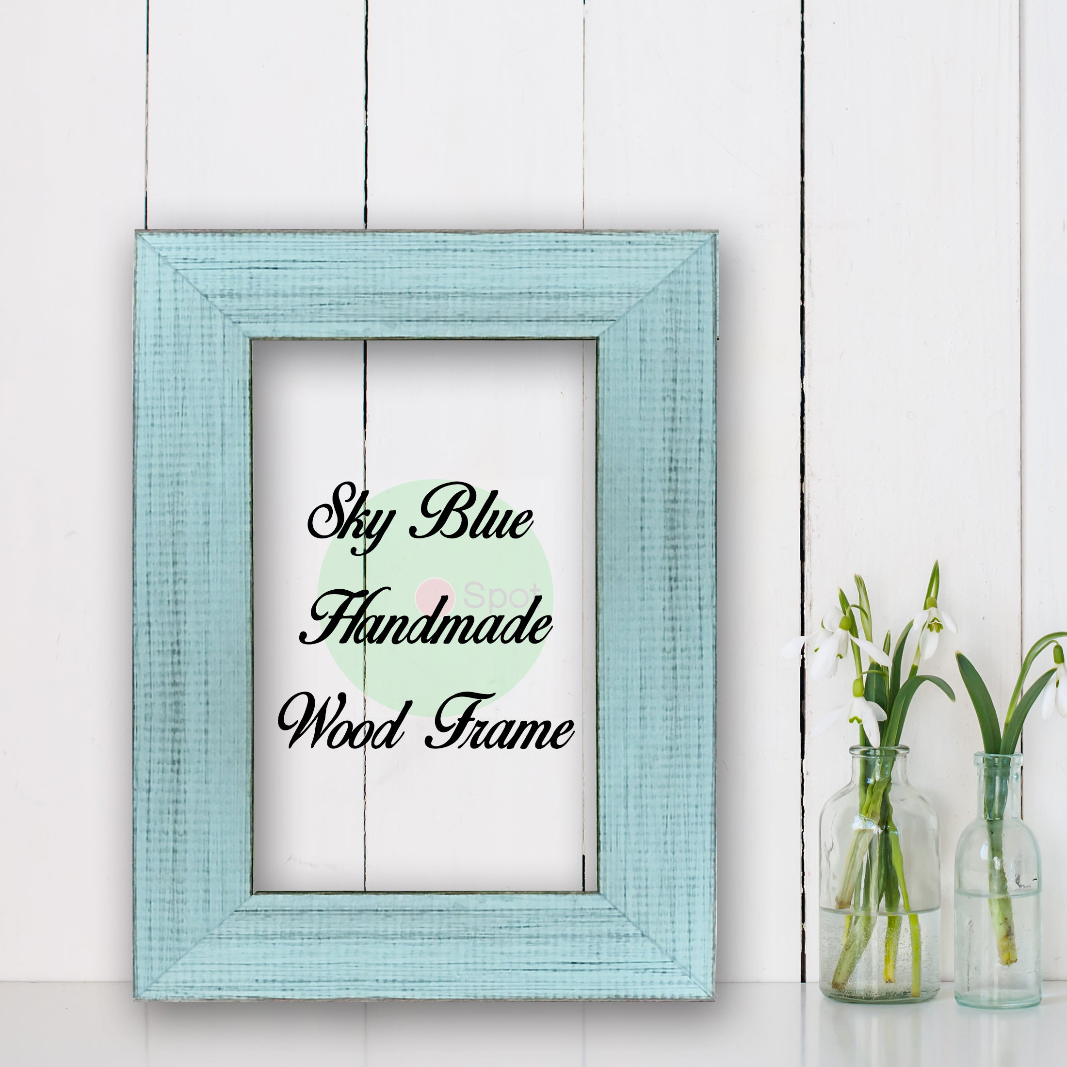 Sky Blue Shabby Chic Home Decor Custom Frame Great for Farmhouse Vintage Rustic Wood Picture Frame