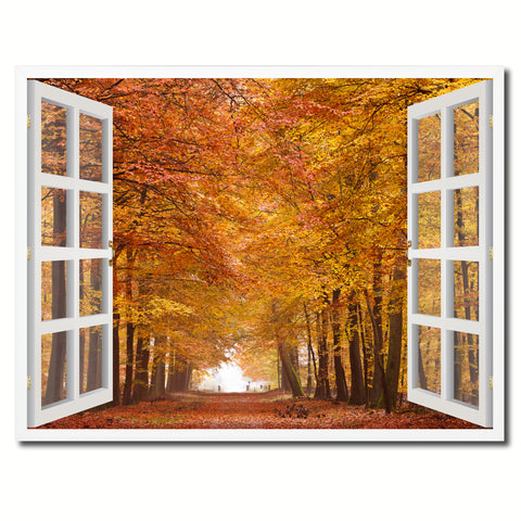 Autumn Trees Red Leaves Picture French Window Framed Canvas Print Home Decor Wall Art Collection