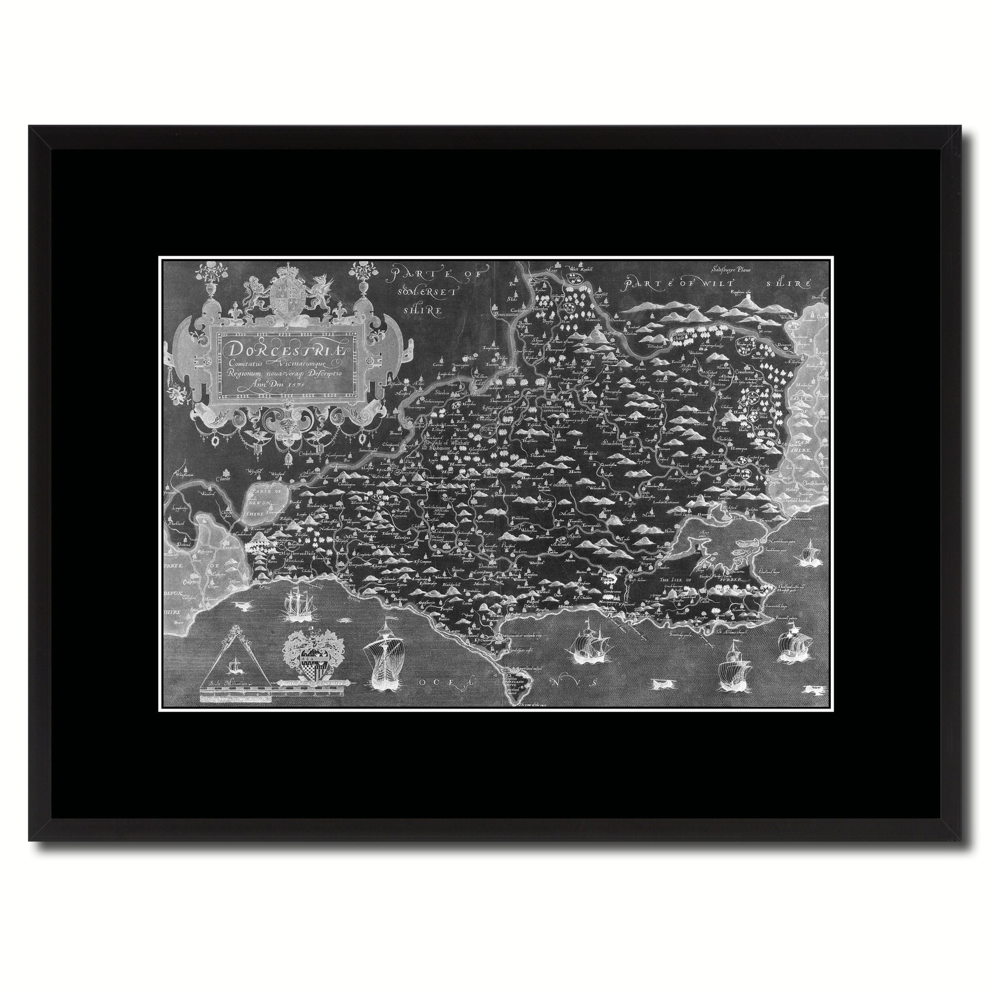 Atlas Of England & Wales Vintage Monochrome Map Canvas Print, Gifts Picture Frames Home Decor Wall Art