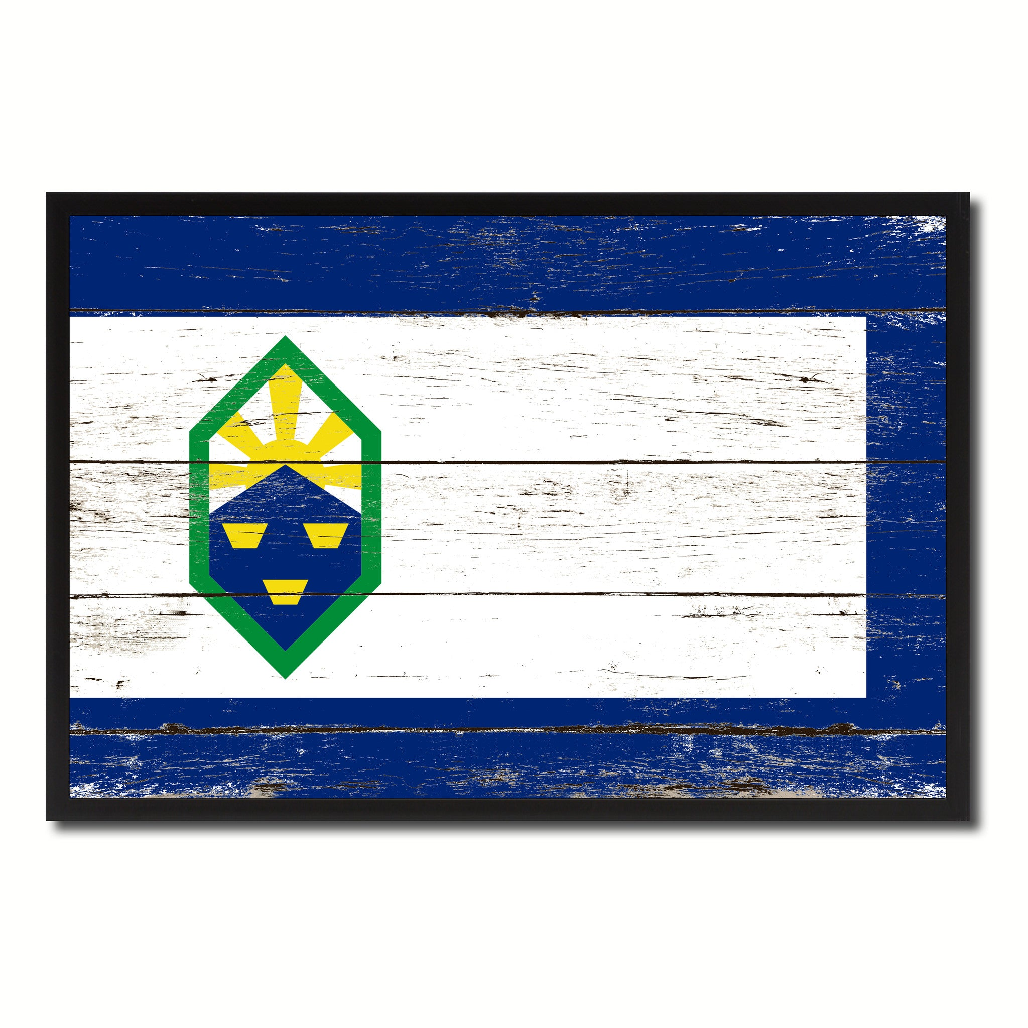 Colorado Springs City Colorado State Flag Vintage Canvas Print with Black Picture Frame Home Decor Wall Art Collectible Decoration Artwork Gifts