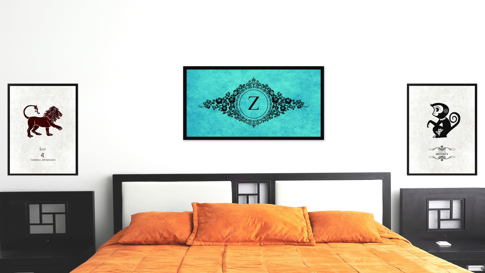 Alphabet Letter Z Auqa Canvas Print, Black Custom Frame