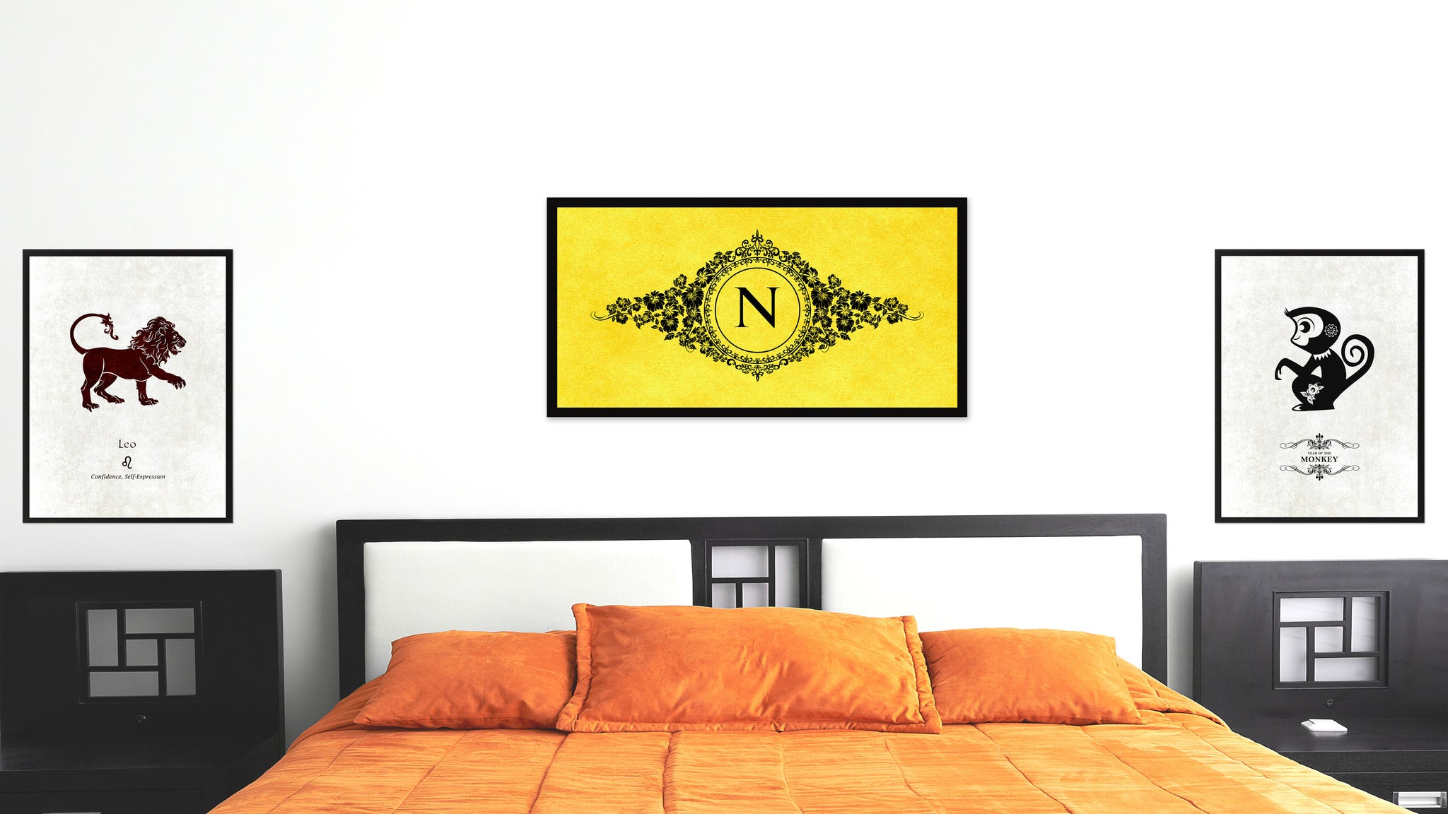 Alphabet Letter N Yellow Canvas Print, Black Custom Frame
