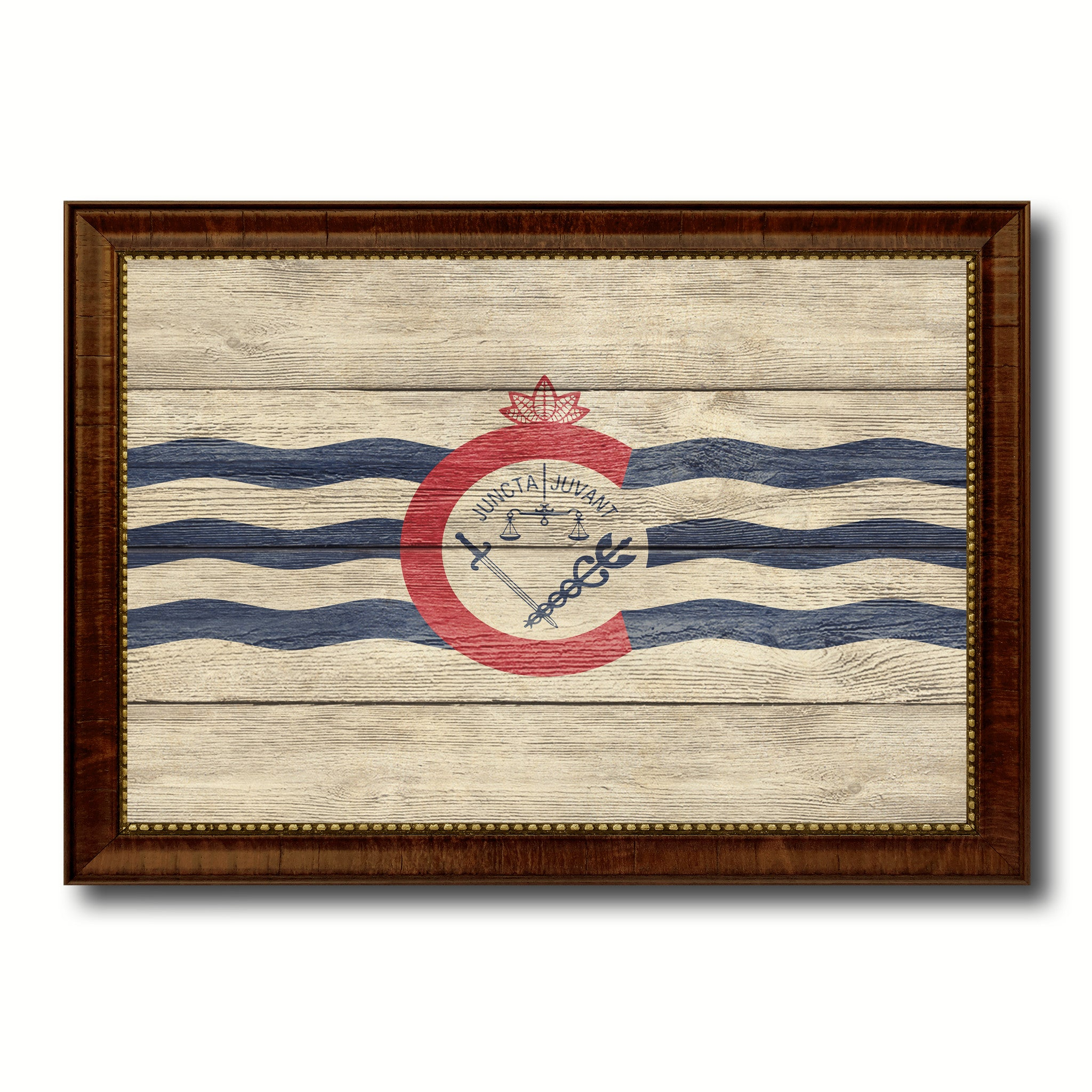 Cincinnati City Ohio State Texture Flag Canvas Print Brown Picture Frame