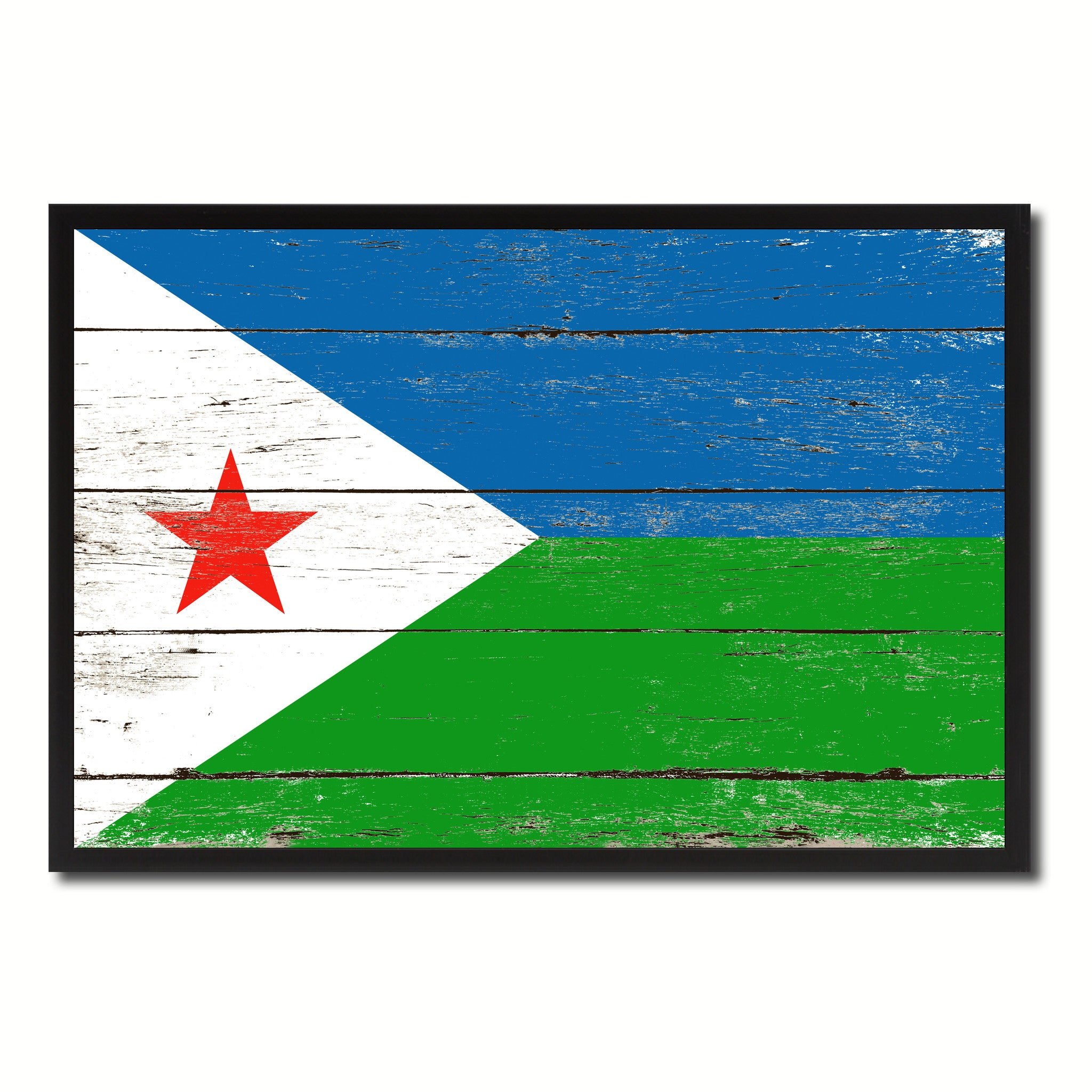 Djibouti Country National Flag Vintage Canvas Print with Picture Frame Home Decor Wall Art Collection Gift Ideas