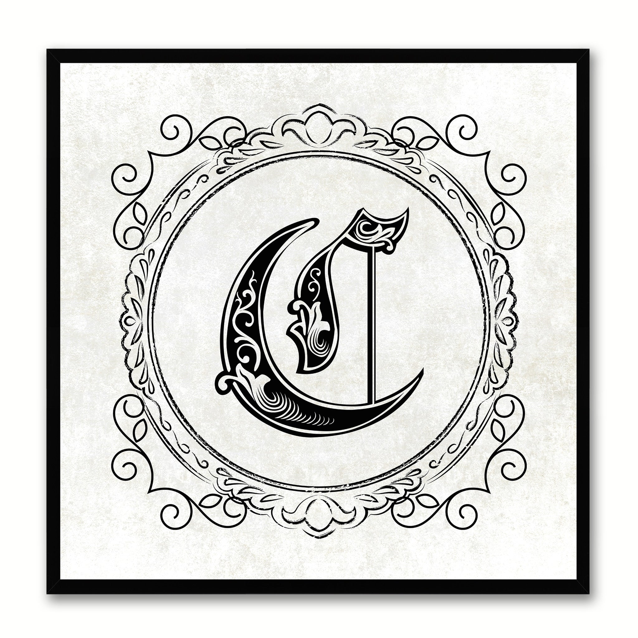Alphabet C White Canvas Print Black Frame Kids Bedroom Wall Décor Home Art