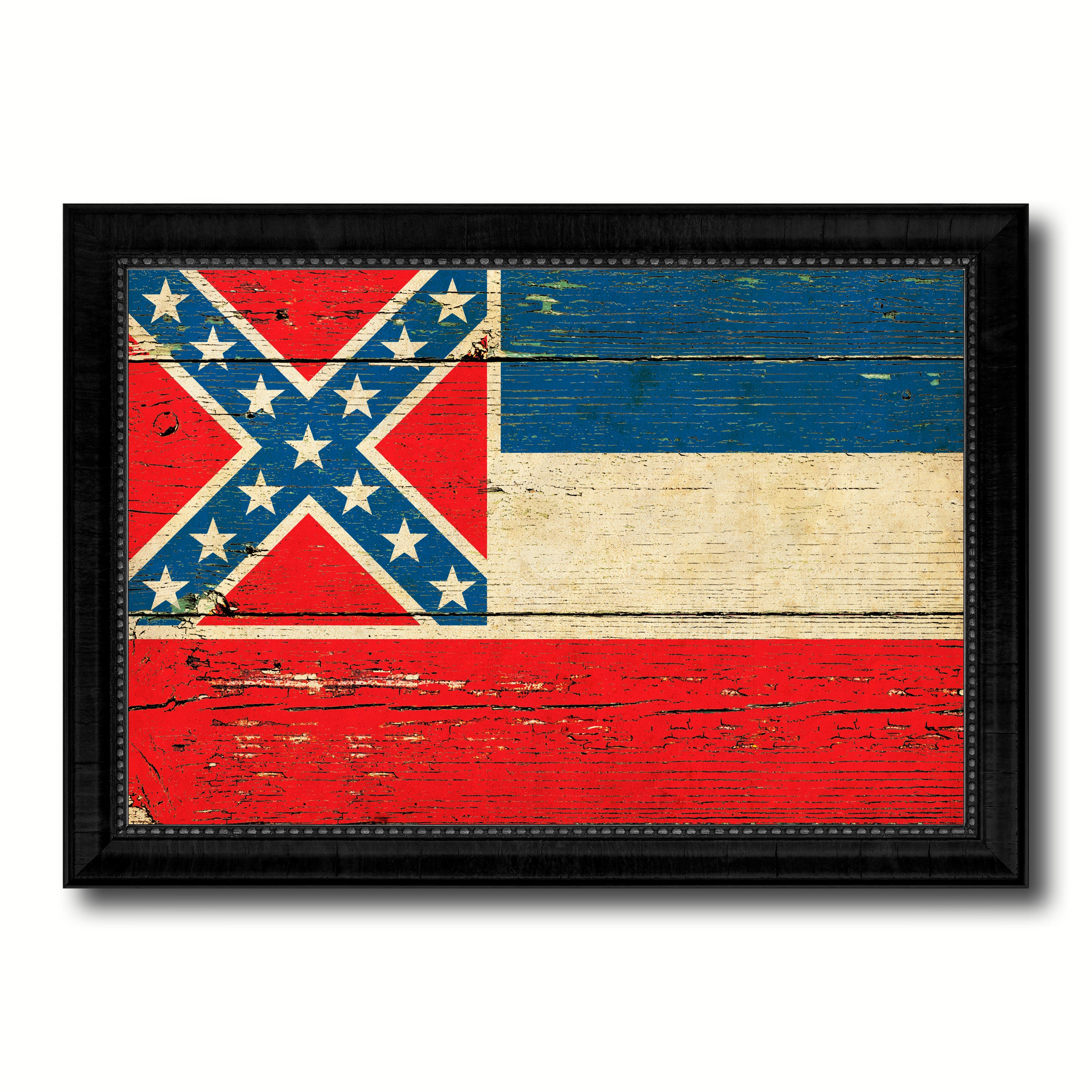 Mississippi State Vintage Flag Canvas Print With Black Picture Frame Home Decor Man Cave Wall Art Collectible Decoration Artwork Gifts
