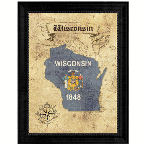 Wisconsin State Vintage Map Gifts Home Decor Wall Art Office Decoration