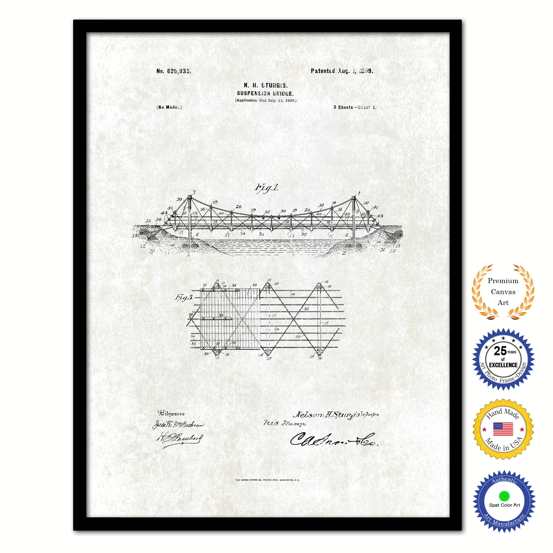 1899 Suspension Bridge Vintage Patent Artwork Black Framed Canvas Print Home Office Decor Great Gift for Engineers Architects Construction Workers