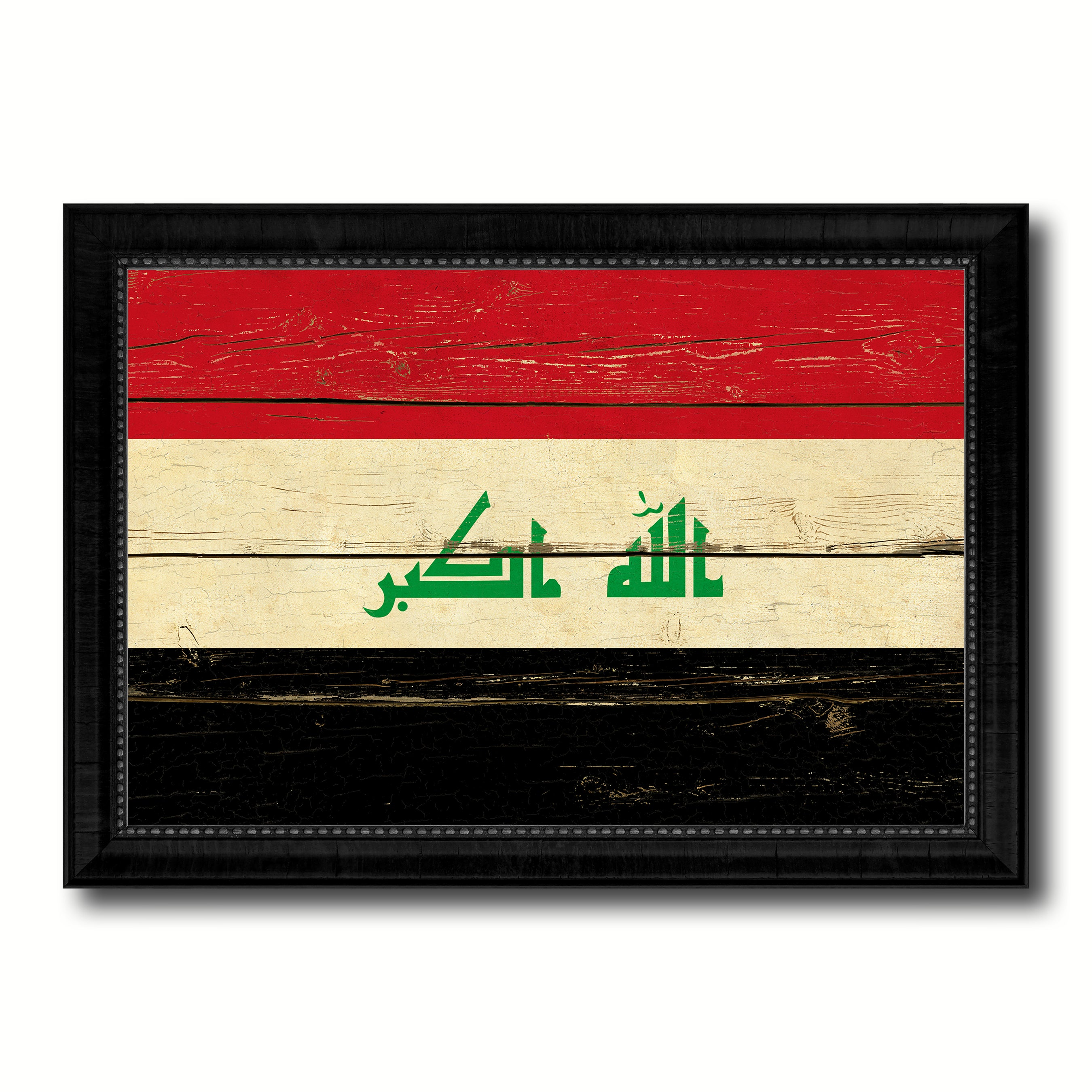 Iraq Country Flag Vintage Canvas Print with Black Picture Frame Home Decor Gifts Wall Art Decoration Artwork