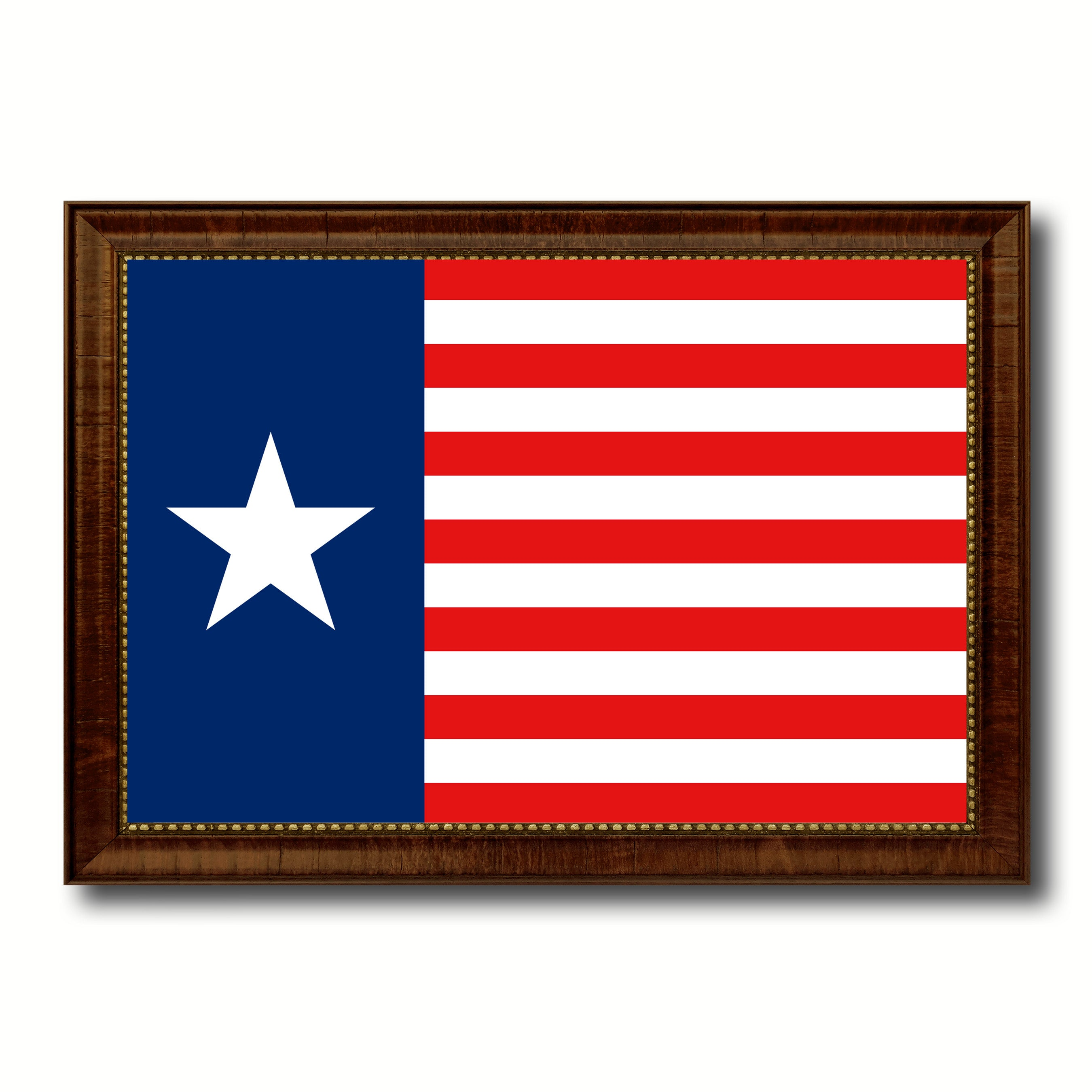 Texas Navy Texan Revolution 1838-1846 Naval Jack Military Flag Canvas Print with Brown Picture Frame Home Decor Wall Art Gift Ideas