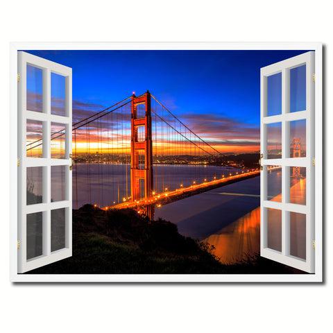 Golden Gate Bridge San Francisco California Sunset Picture French Window Framed Canvas Print Home Decor Wall Art Collection
