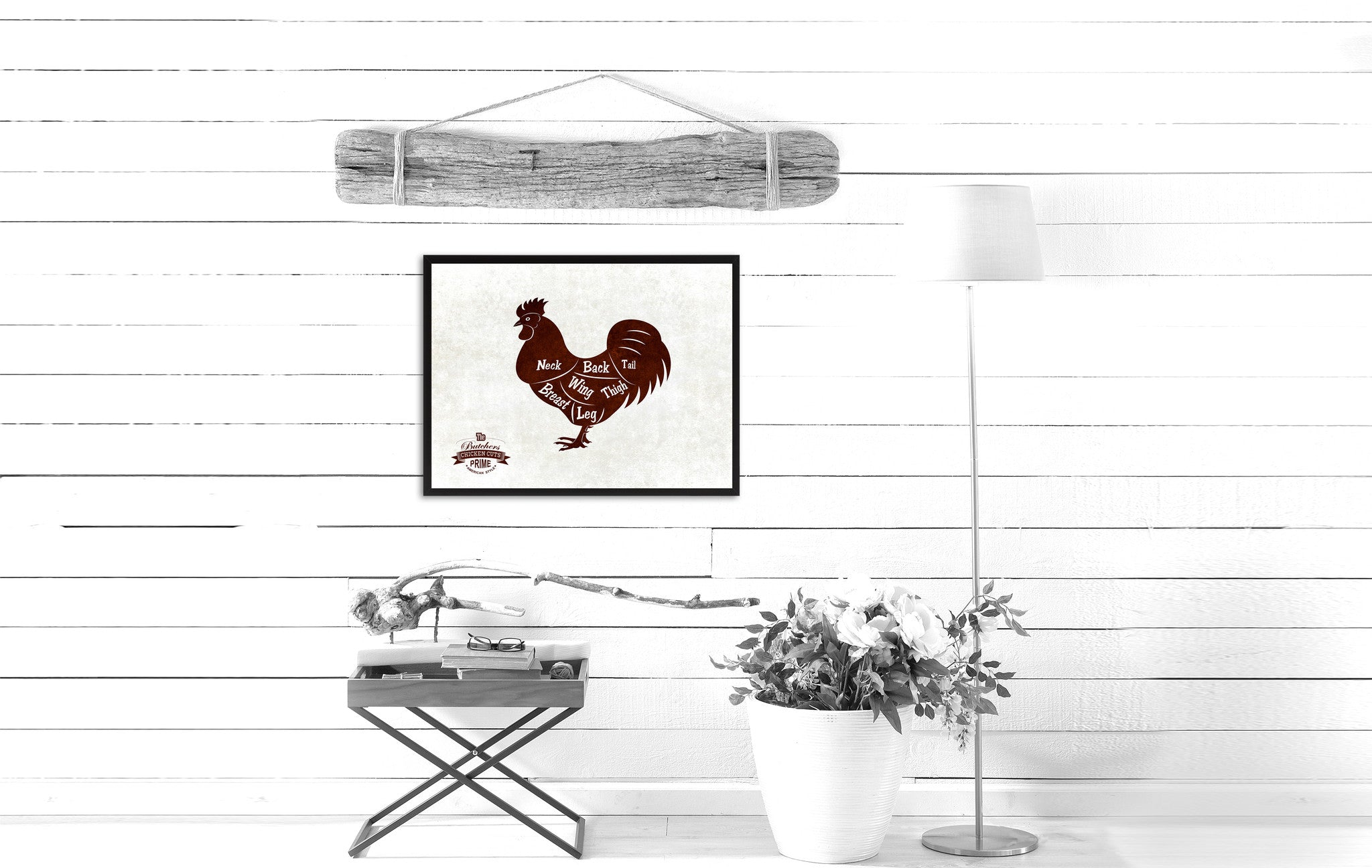 Chicken Meat Cuts Butchers Chart Canvas Print Picture Frame Home Decor Wall Art Gifts