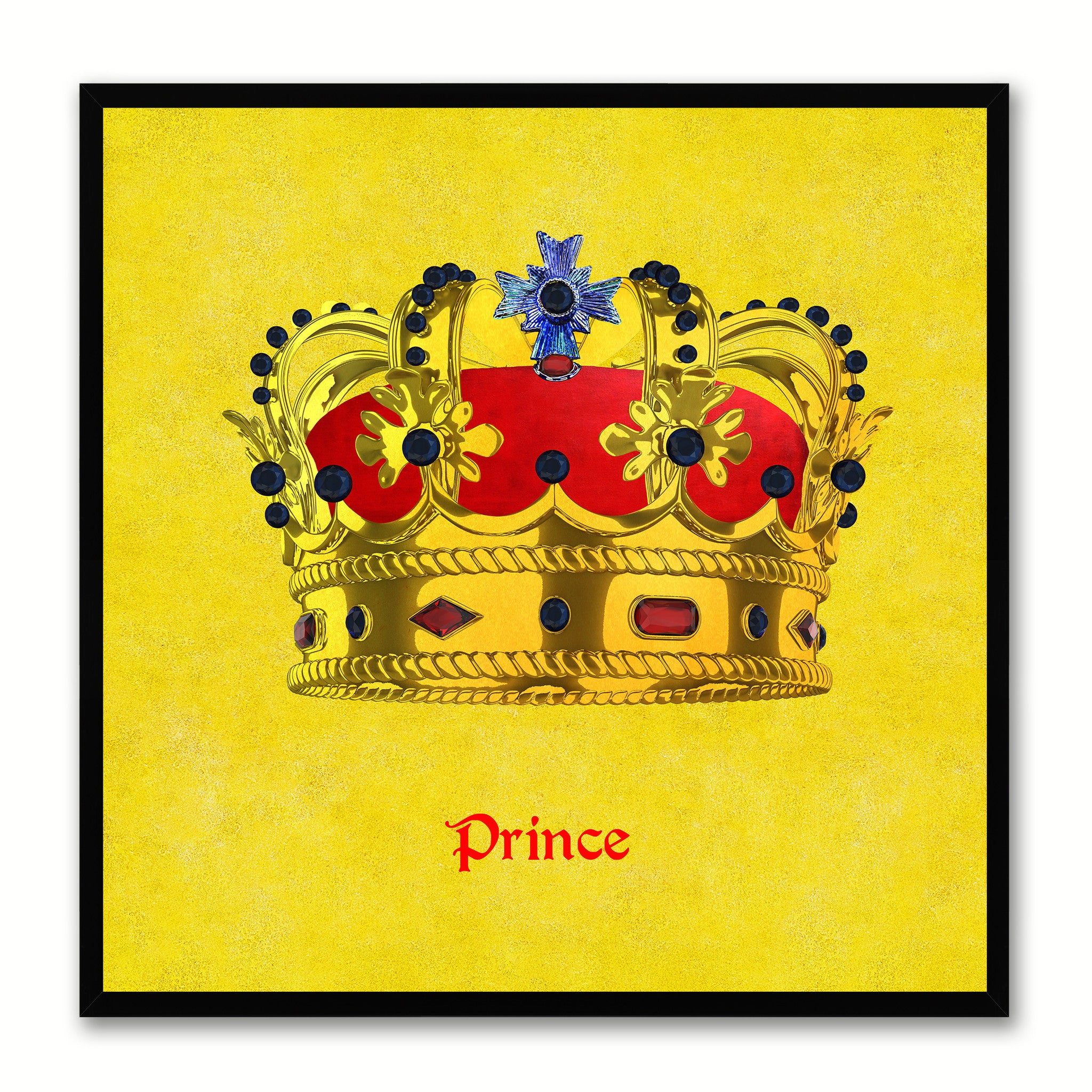 Prince Yellow Canvas Print Black Frame Kids Bedroom Wall Home Décor