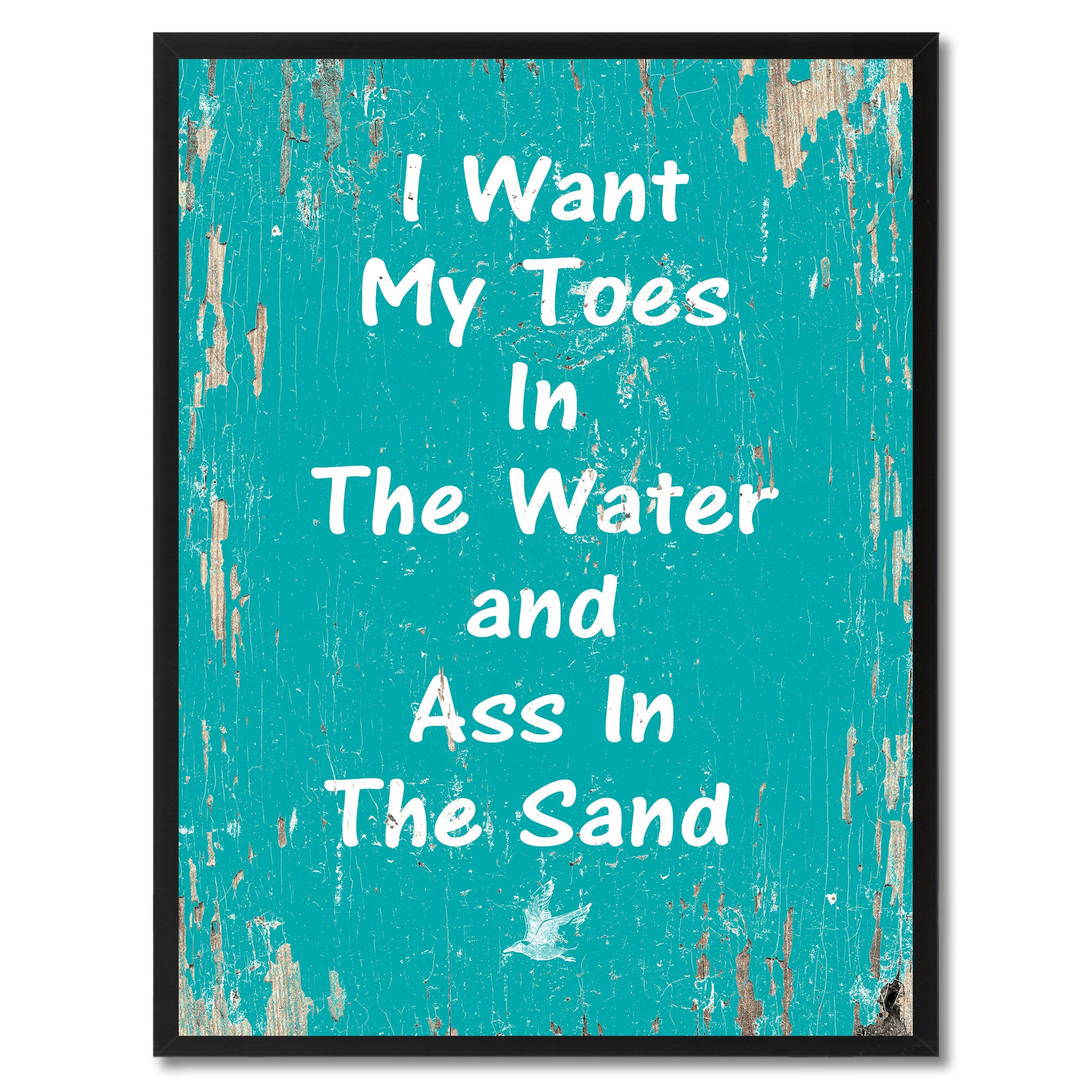 I Want My Toes In The Water  Saying Canvas Print, Black Picture Frame Home Decor Wall Art Gifts