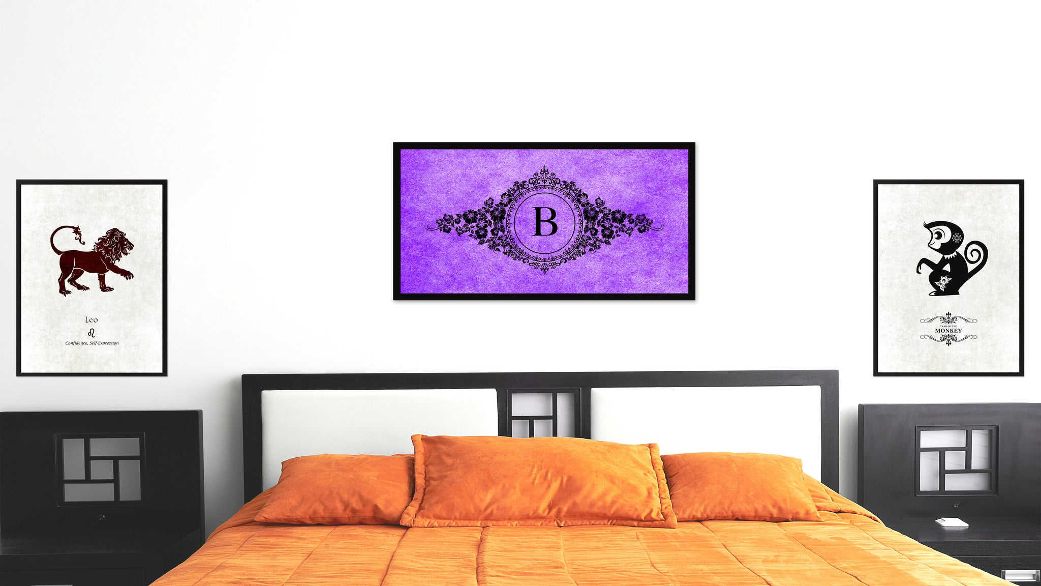Alphabet Letter B Purple Canvas Print, Black Custom Frame