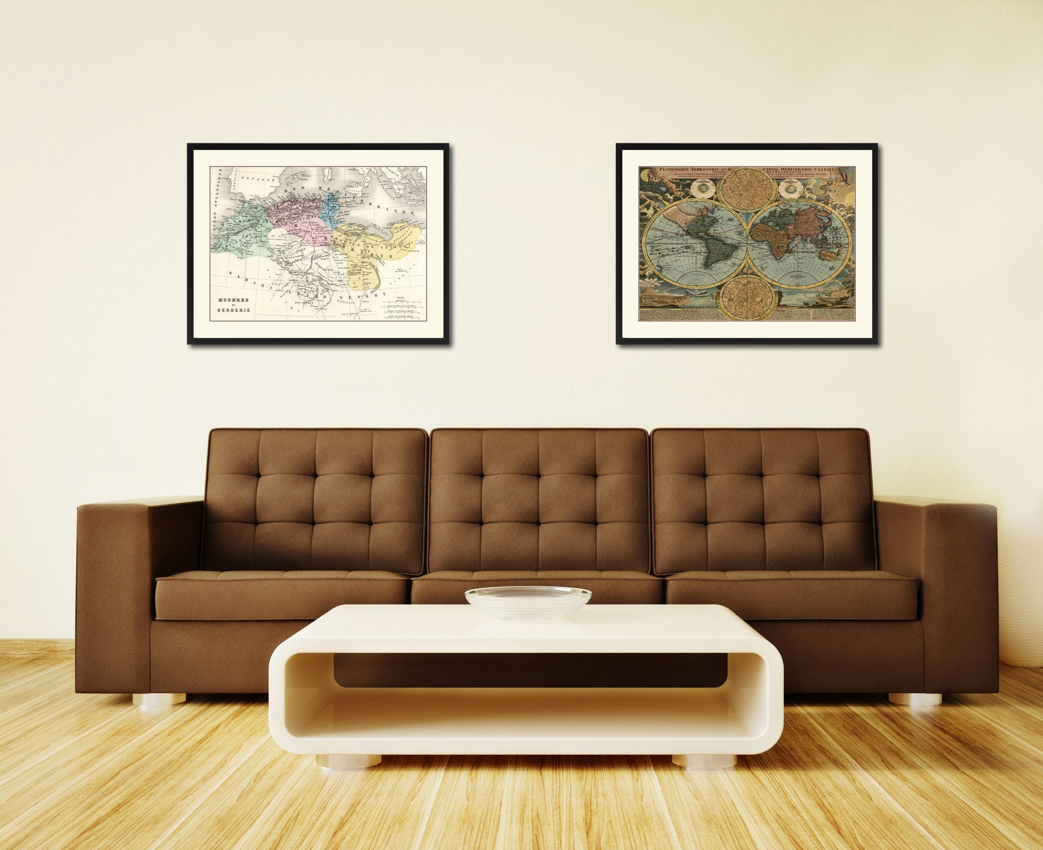 North africa barbary coast vintage antique map wall art for Home frames wall art