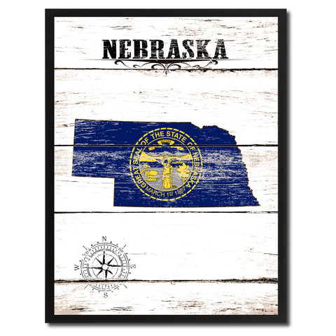 Nebraska State Vintage  Flag Gifts Home Decor Wall Art Canvas Print with Custom Picture Frame