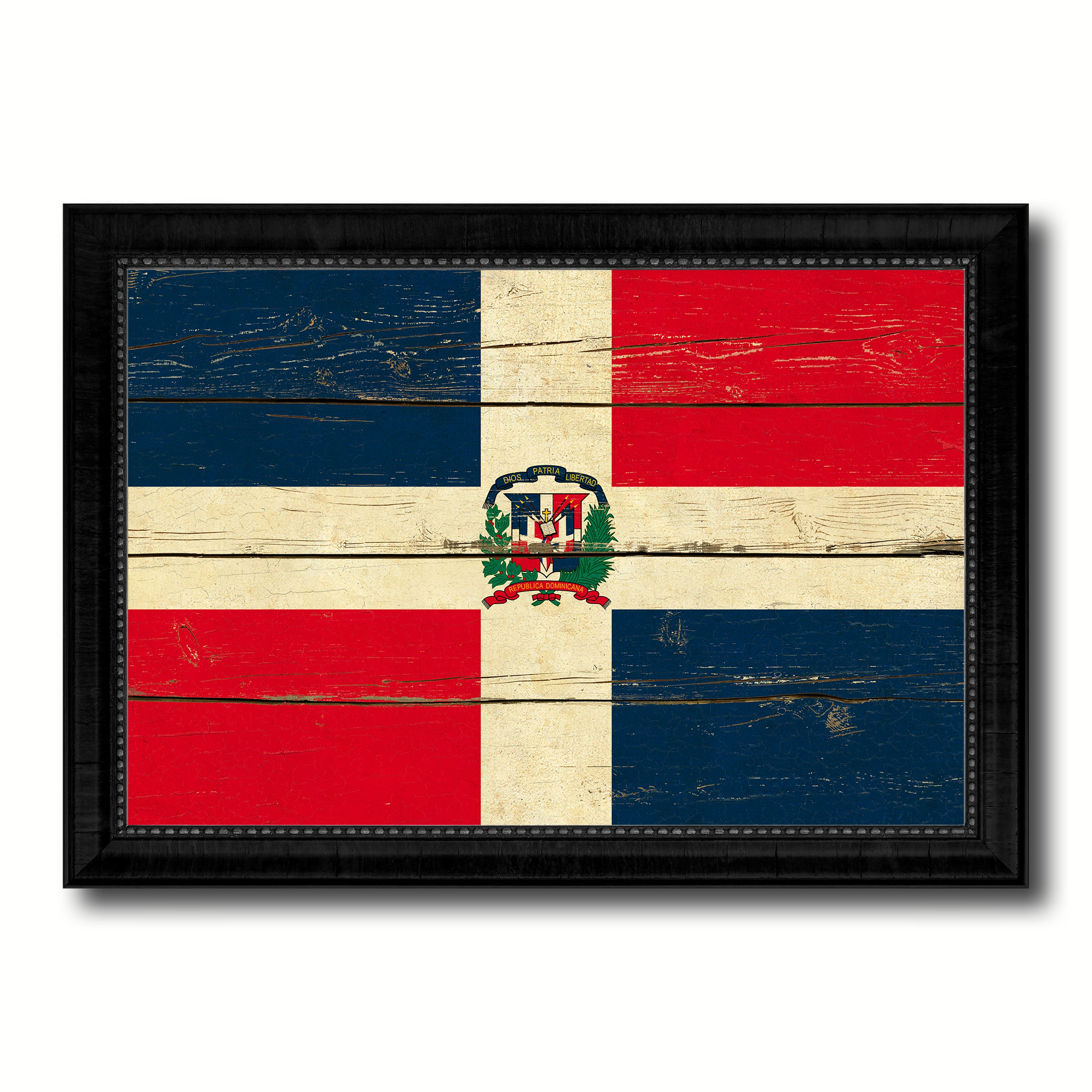 Dominican Republic Country Flag Vintage Canvas Print with Black Picture Frame Home Decor Gifts Wall Art Decoration Artwork