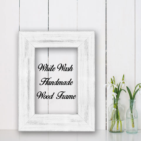 White Wash Shabby Chic Home Decor Custom Frame Great for Farmhouse Vintage Rustic Wood Picture Frame