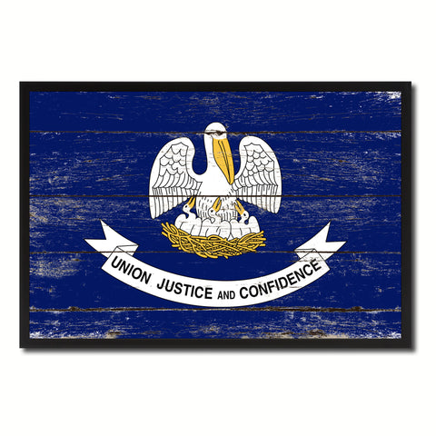 Louisiana State Flag Vintage Canvas Print with Black Picture Frame Home DecorWall Art Collectible Decoration Artwork Gifts
