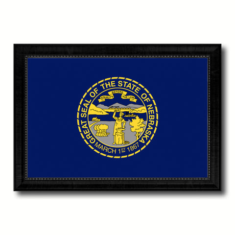Nebraska State Flag Canvas Print with Custom Black Picture Frame Home Decor Wall Art Decoration Gifts