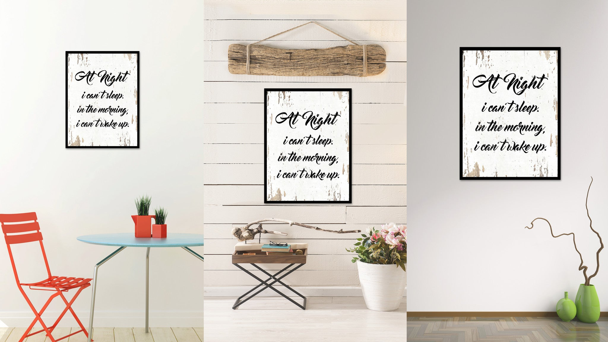 At Night I Can't Sleep In The Morning Quote Saying Gift Ideas Home Decor Wall Art 111449