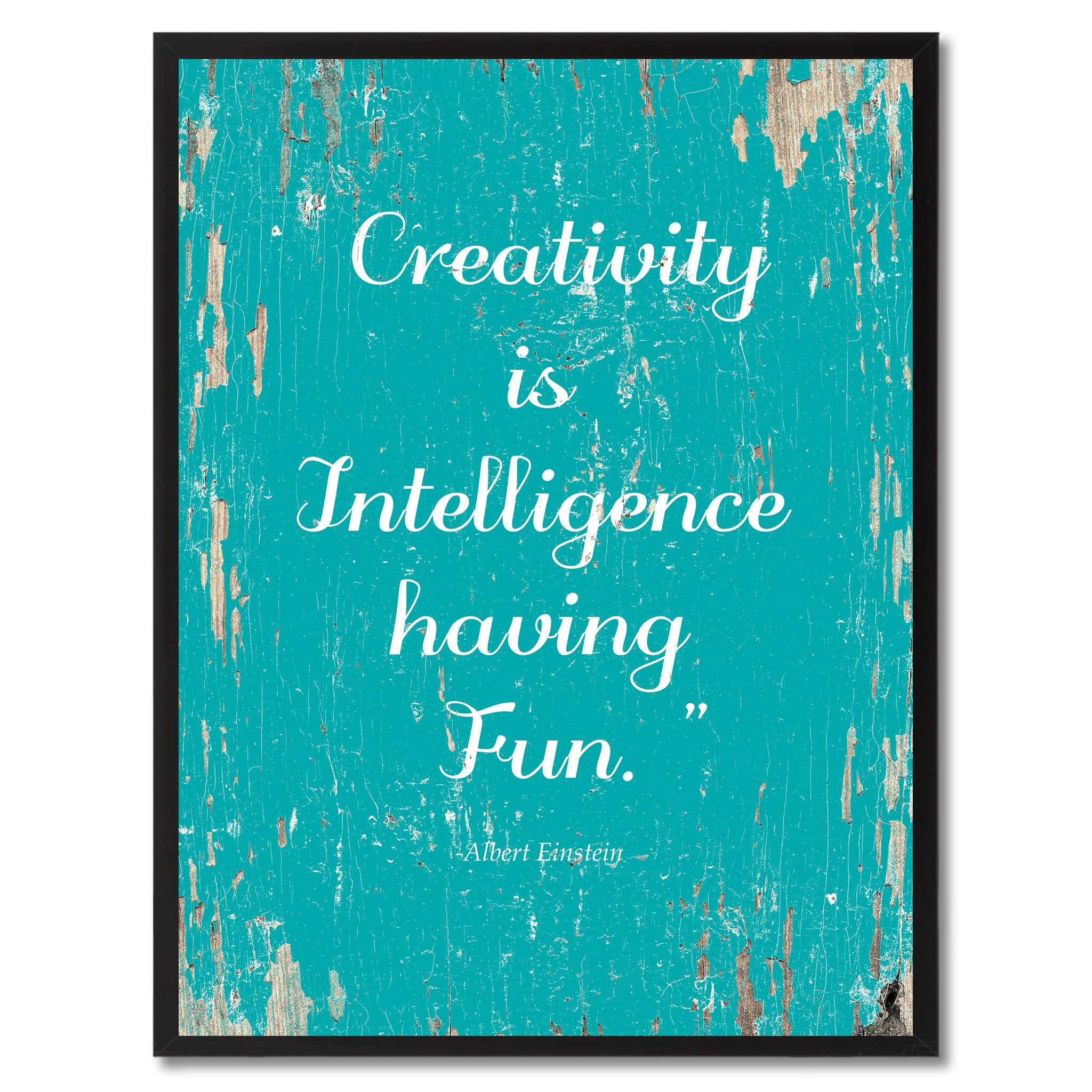 Creativity Is Intelligence Having Fun Albert Einstein Saying Motivation Quote Canvas Print, Black Picture Frame Home Decor Wall Art Gifts