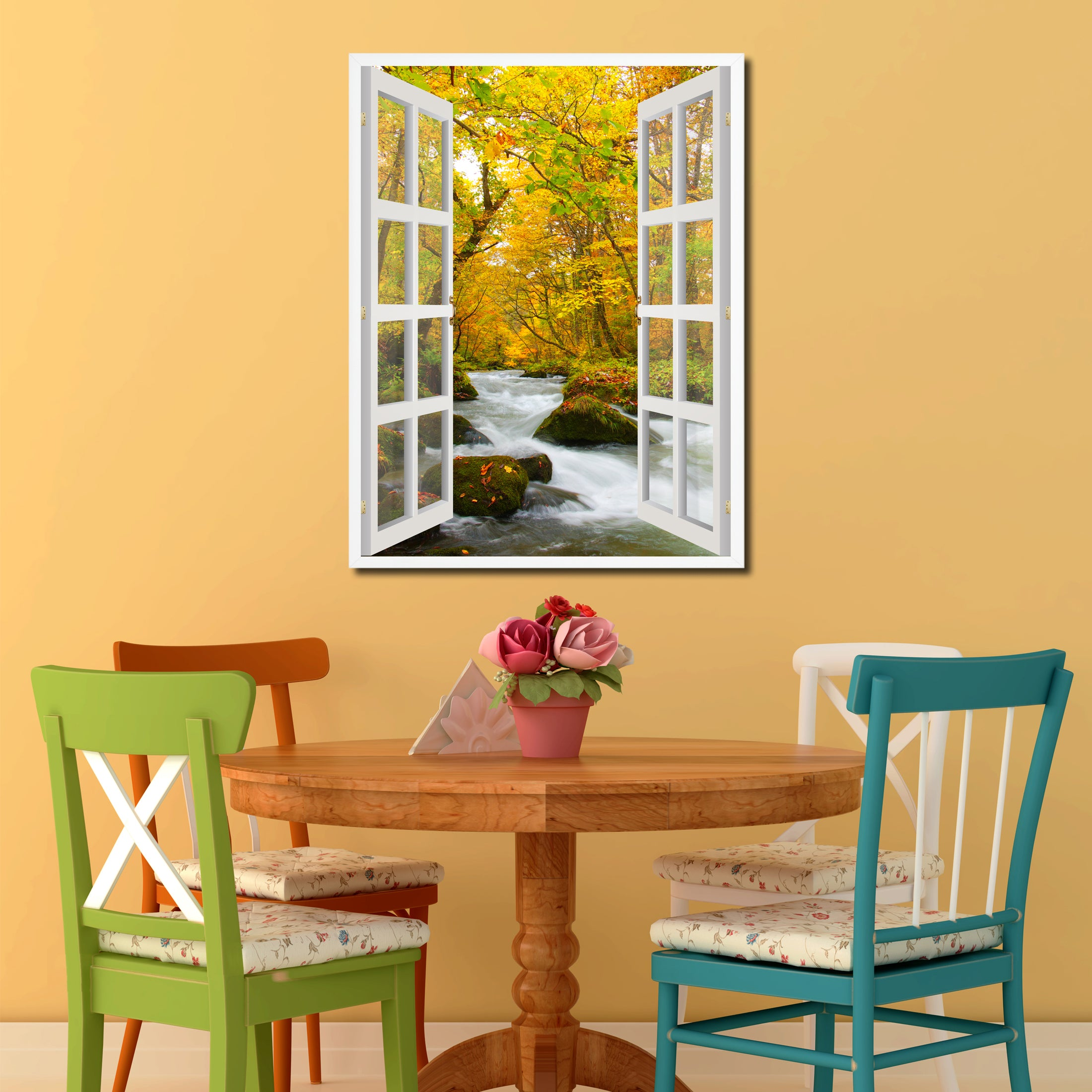 Autumn River Picture French Window Canvas Print With Frame Gifts Home Decor  Wall Art Collection