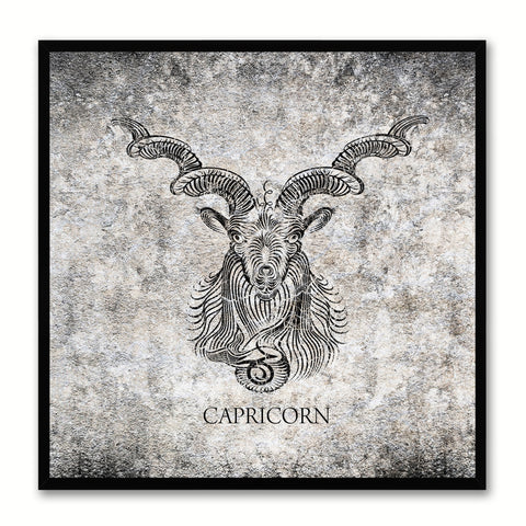 Sun Horoscope Canvas Print Black Custom Frame Home Decor Wall Art