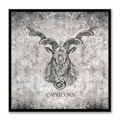 Zodiac Capricorn Horoscope Black Canvas Print, Black Custom Frame