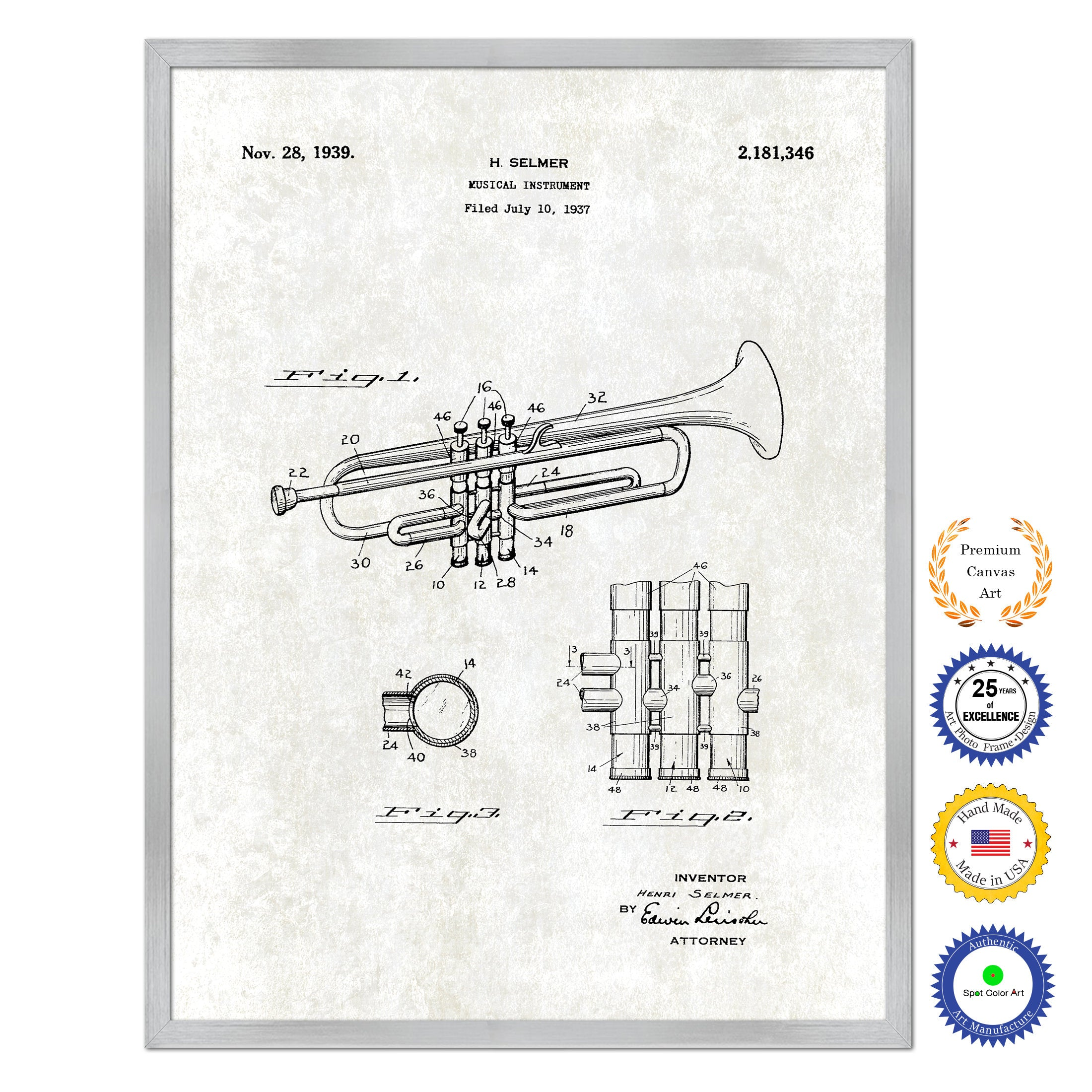 1939 Trumpet Musical Instrument Old Patent Art Print on Canvas Custom Framed Vintage Home Decor Wall Decoration Great for Gifts