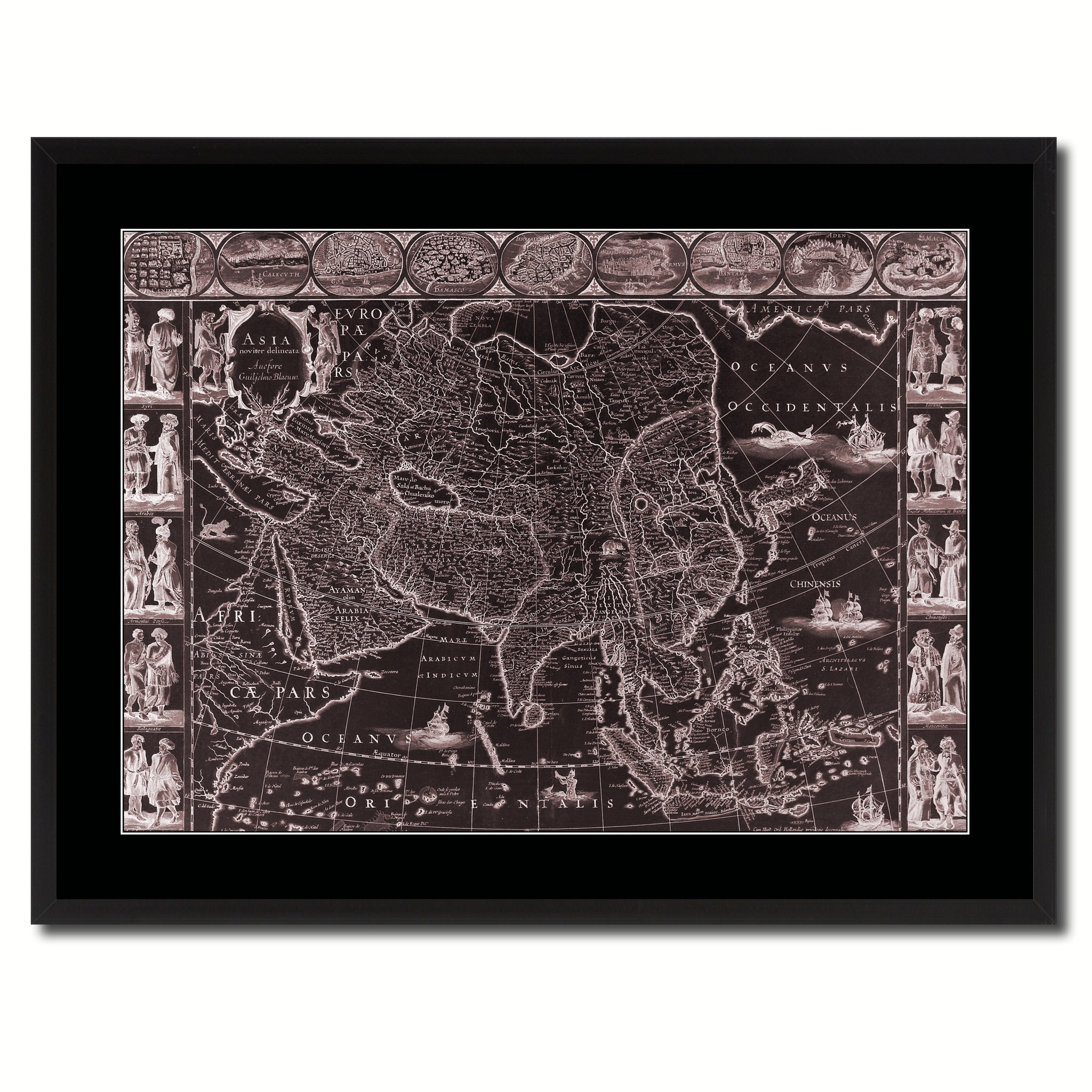 Asia Vintage Vivid Sepia Map Canvas Print, Picture Frames Home Decor Wall Art Decoration Gifts