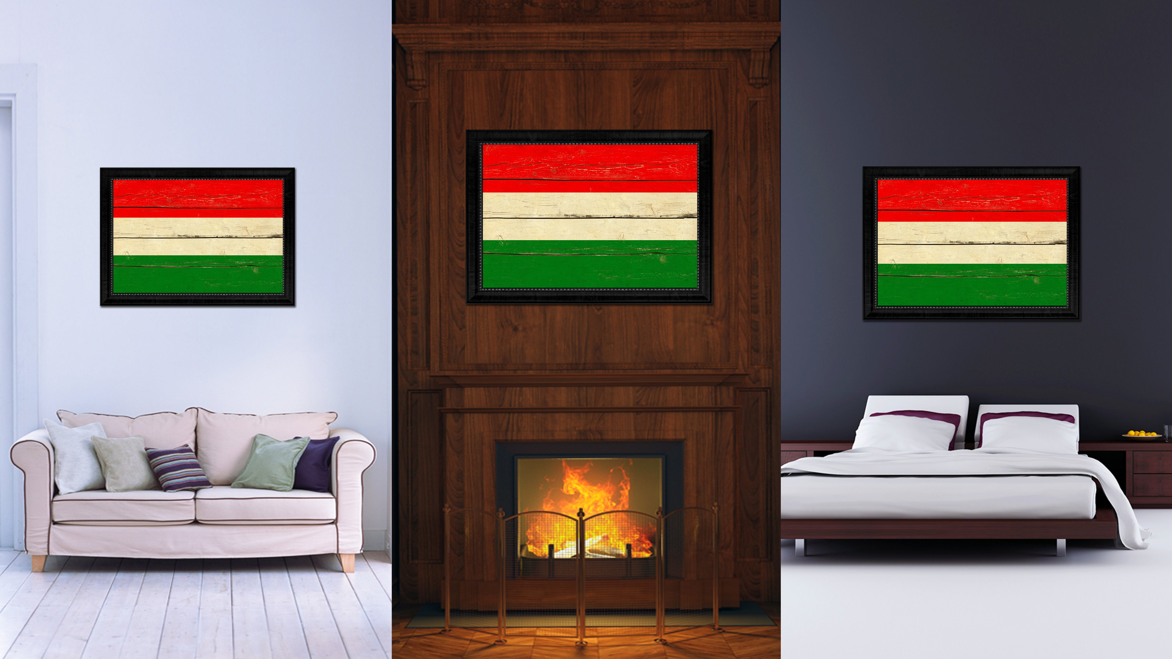 Hungary Country Flag Vintage Canvas Print with Black Picture Frame Home Decor Gifts Wall Art Decoration Artwork