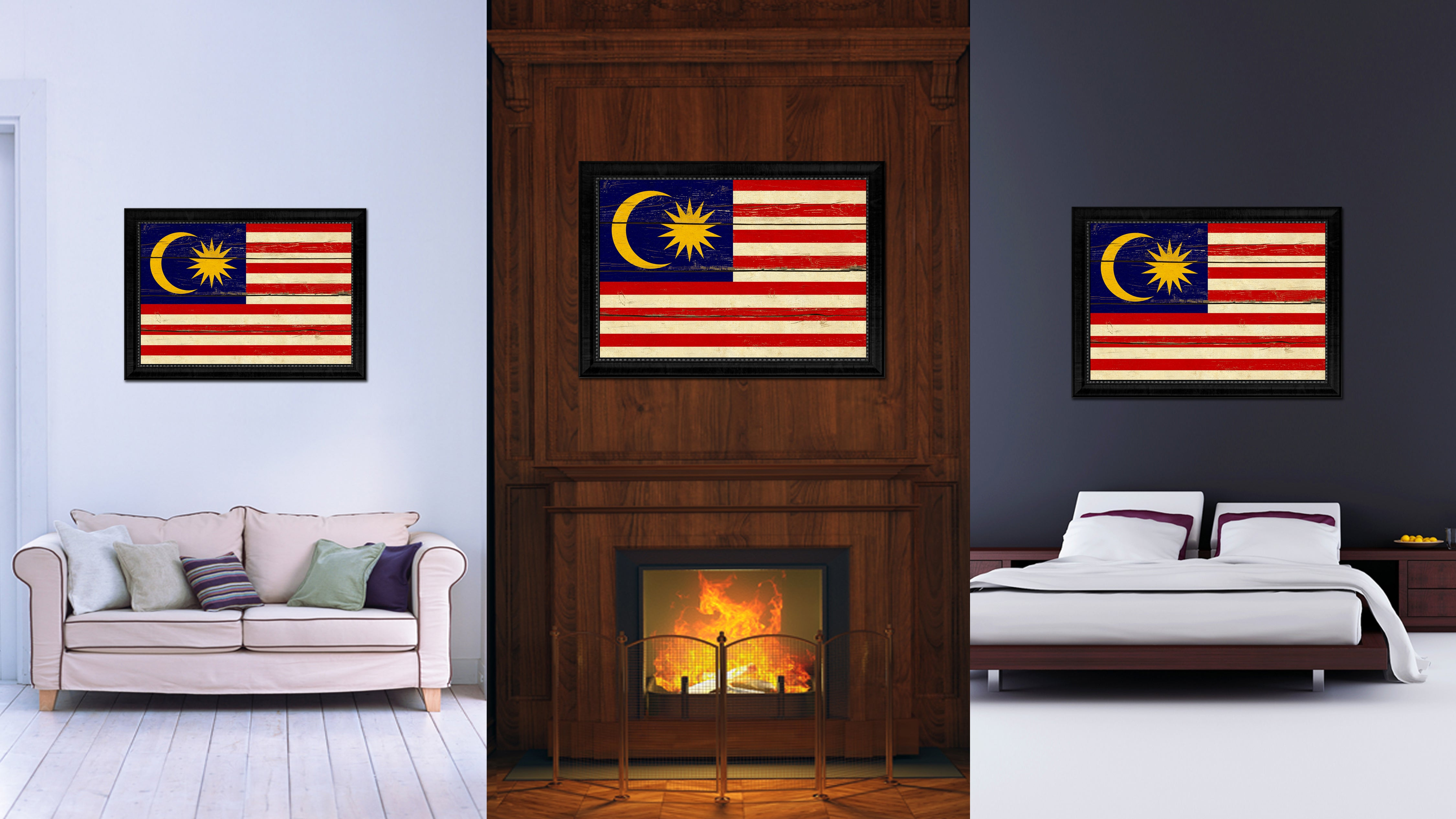 Malaysia Country Flag Vintage Canvas Print with Black Picture Frame Home Decor Gifts Wall Art Decoration Artwork