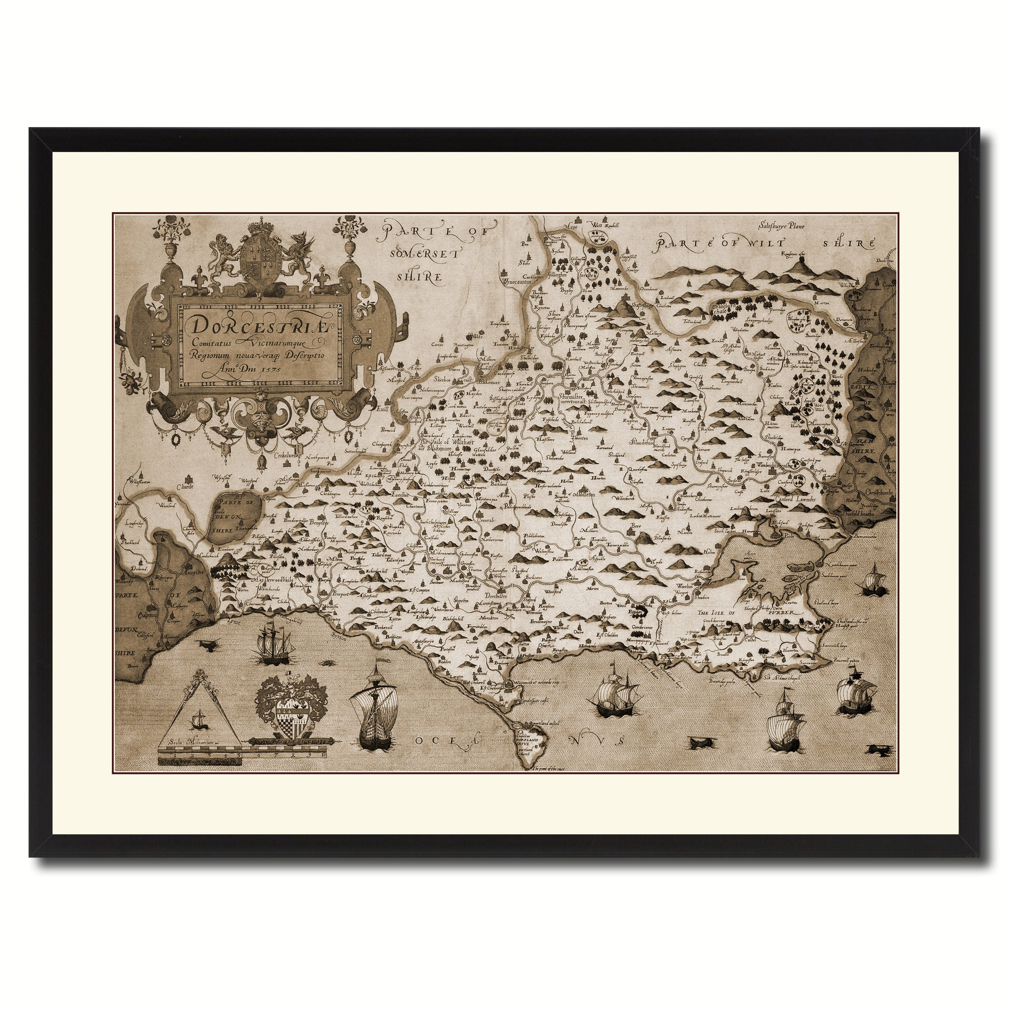Atlas Of England & Wales Vintage Sepia Map Canvas Print, Picture Frame Gifts Home Decor Wall Art Decoration