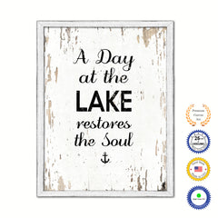 A Day At The Lake Restores The Soul Vintage Saying Gifts Home Decor Wall Art Canvas Print with Custom Picture Frame