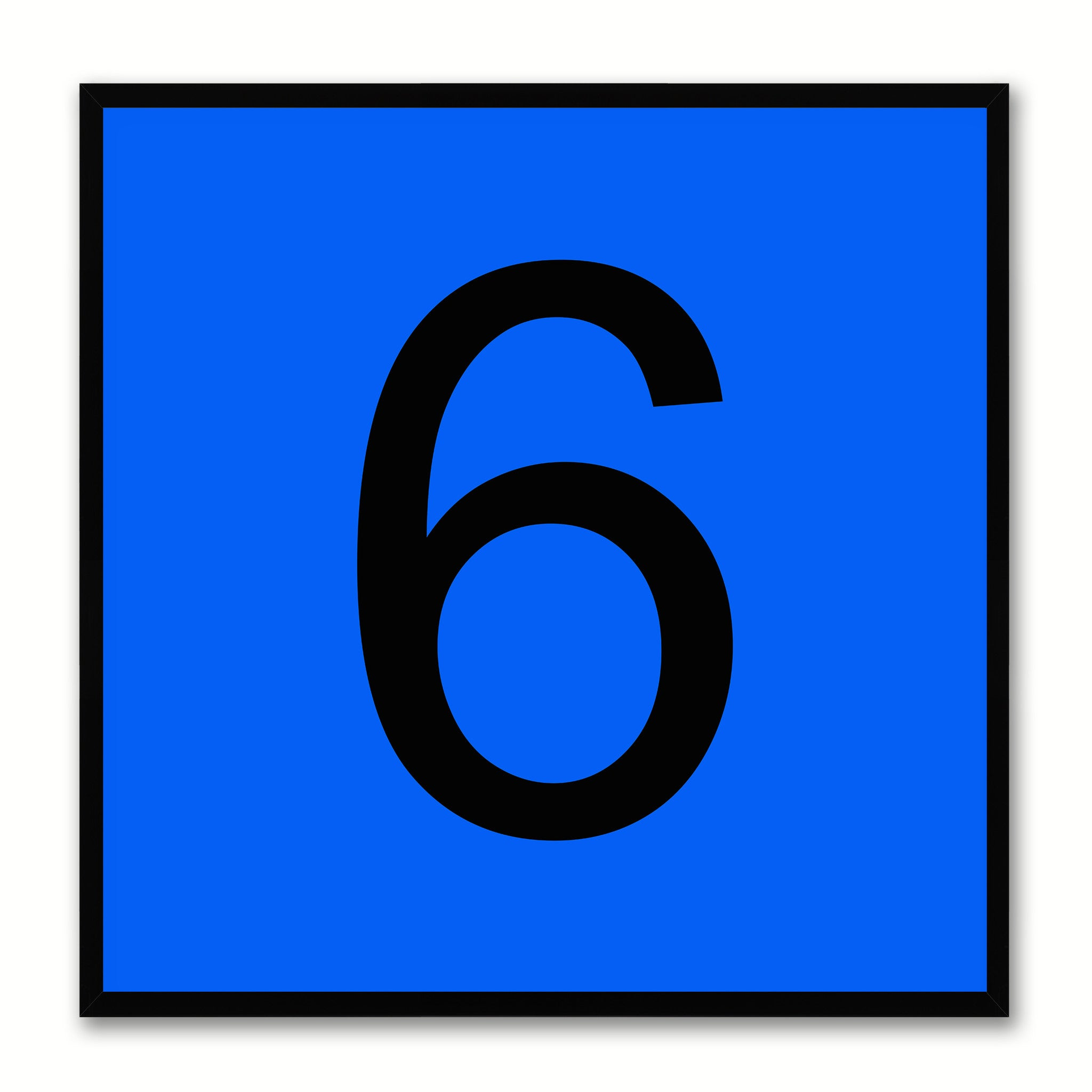Number 6 Blue Canvas Print Black Frame Kids Bedroom Wall Décor Home Art