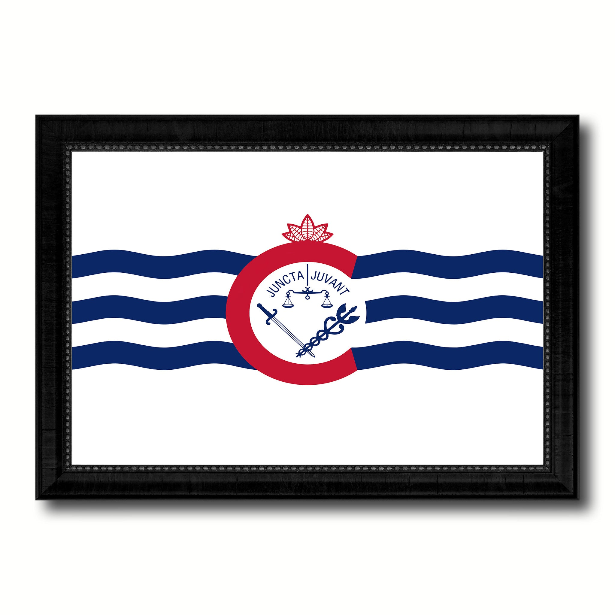 Cincinnati City Ohio State Flag Canvas Print Black Picture Frame