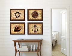 Anchor Vintage Nautical Map Home Decor Wall Art Livingroom Decoration