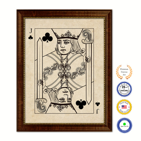 Jack Heart Poker Decks of Vintage Cards Print on Canvas Brown Custom Framed