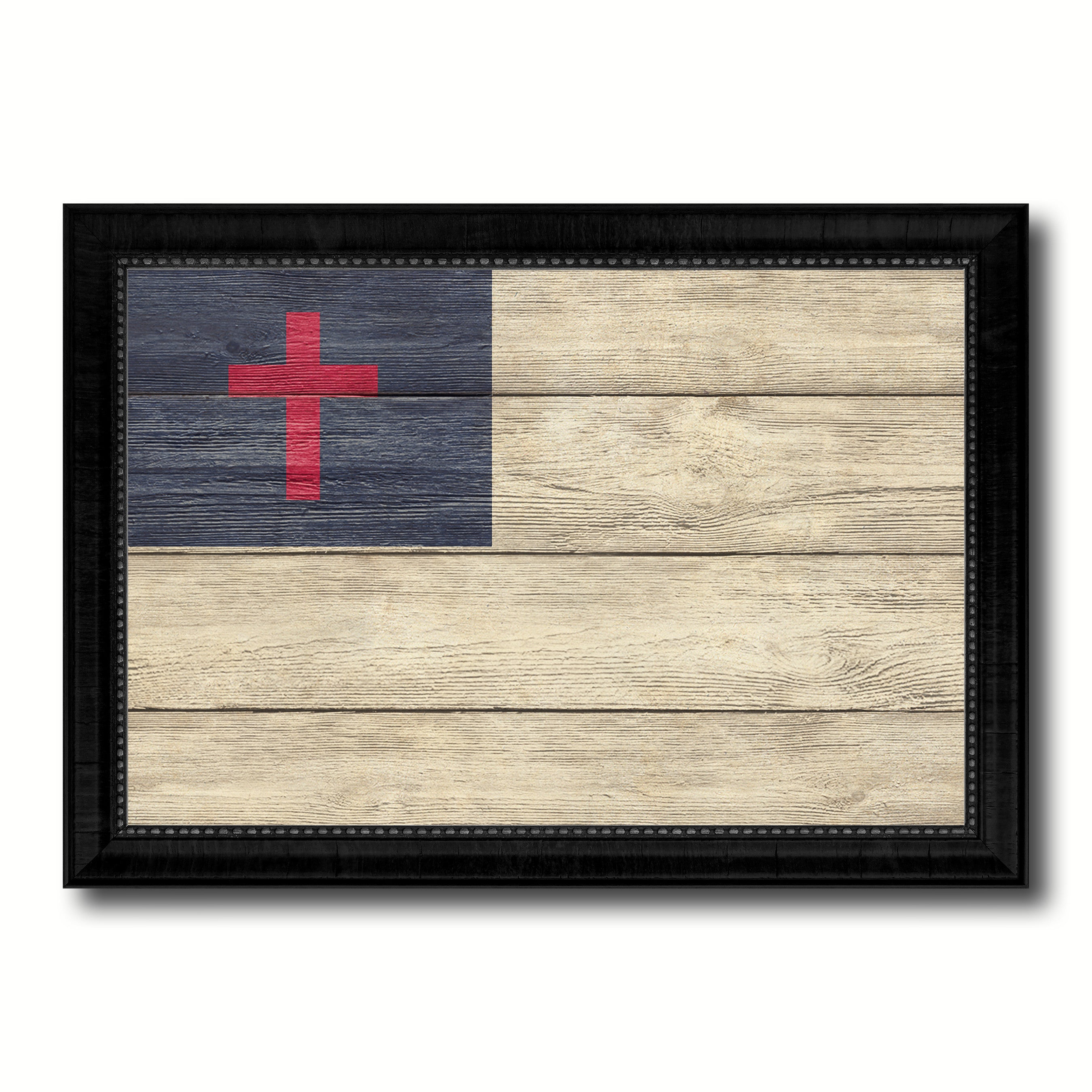 Kayso Christian Religious Flag Texture Canvas Print with Black Picture Frame Gift Ideas Home Decor Wall Art