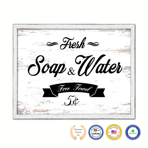 Fresh Soap & Water Vintage Sign Gifts Home Decor Wall Art Canvas Print with Custom Picture Frame